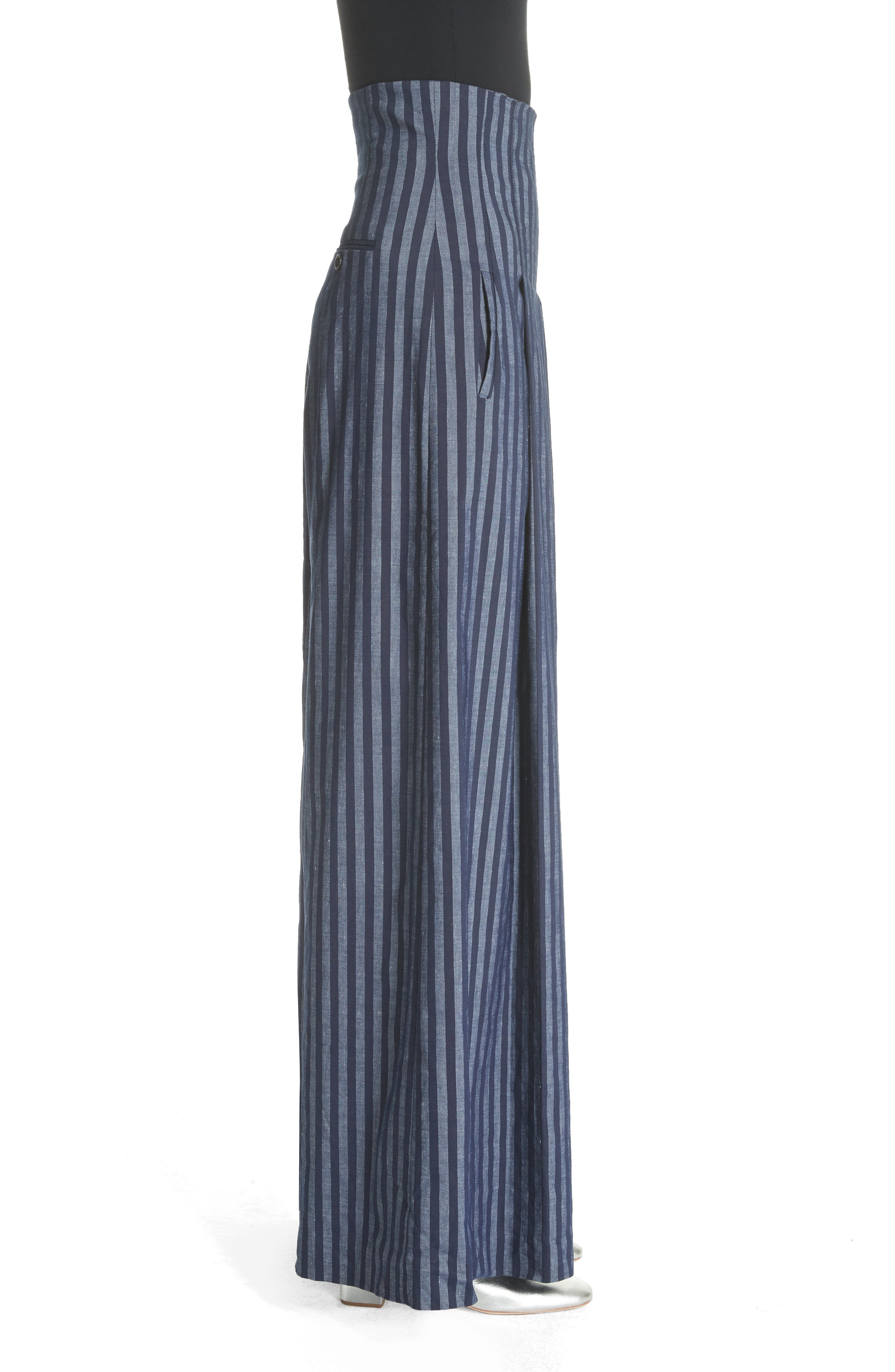 Stripe Wide Leg Pants,                             Alternate thumbnail 3, color,                             India Ink