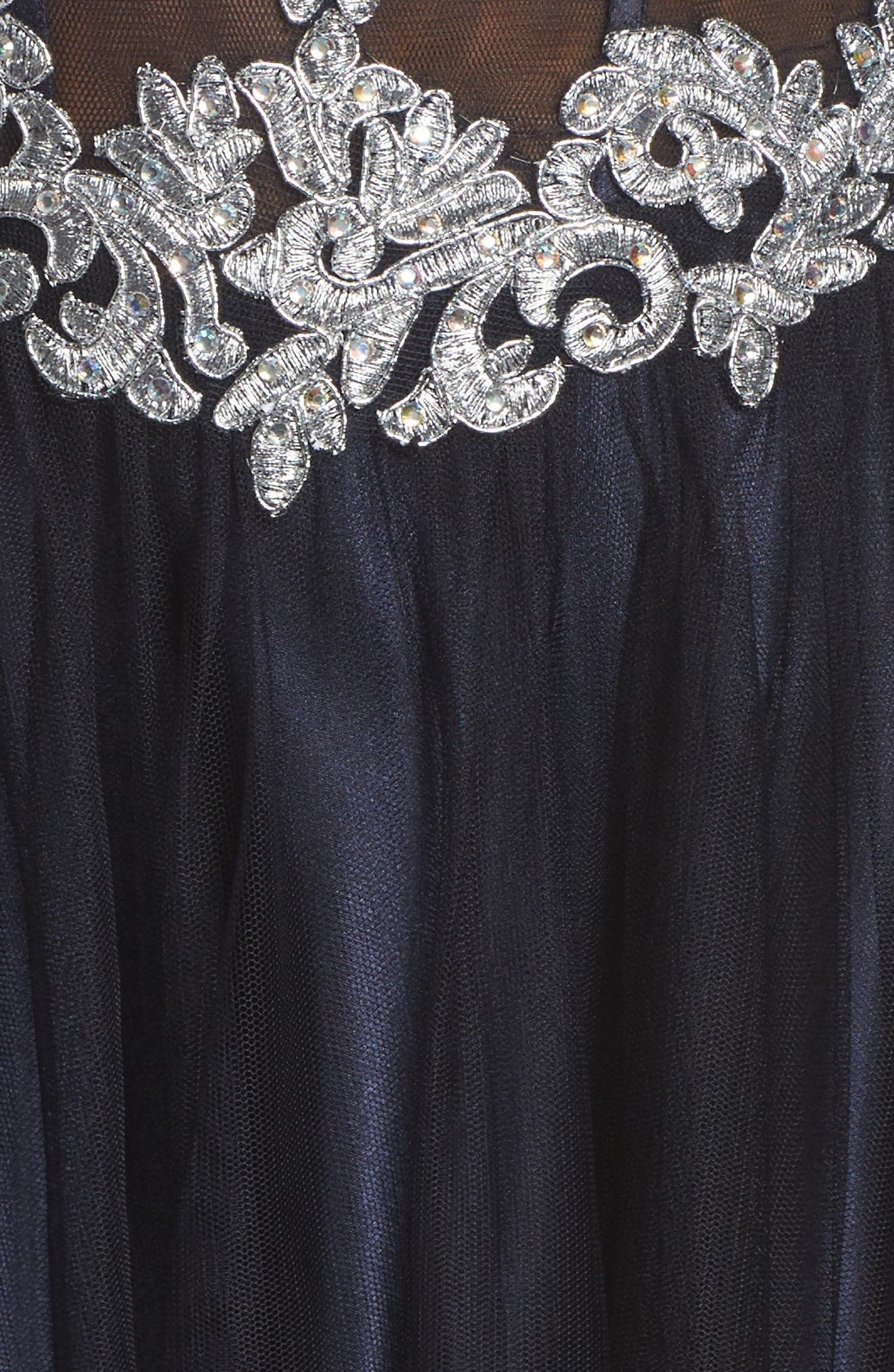 Embellished Corset Ballgown,                             Alternate thumbnail 5, color,                             Navy/ Silver