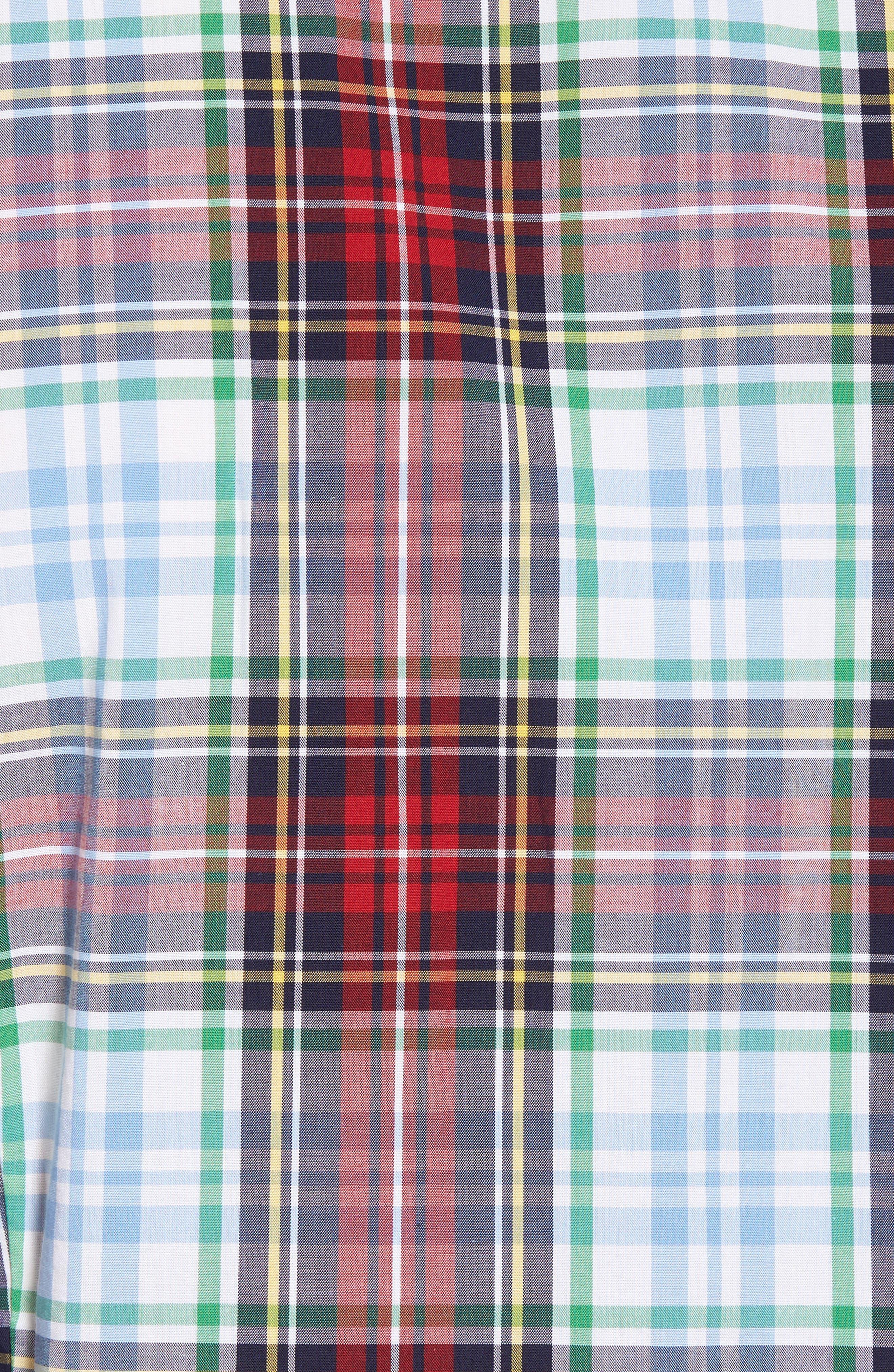 Jeff Trim Fit Plaid Sport Shirt,                             Alternate thumbnail 5, color,                             Red
