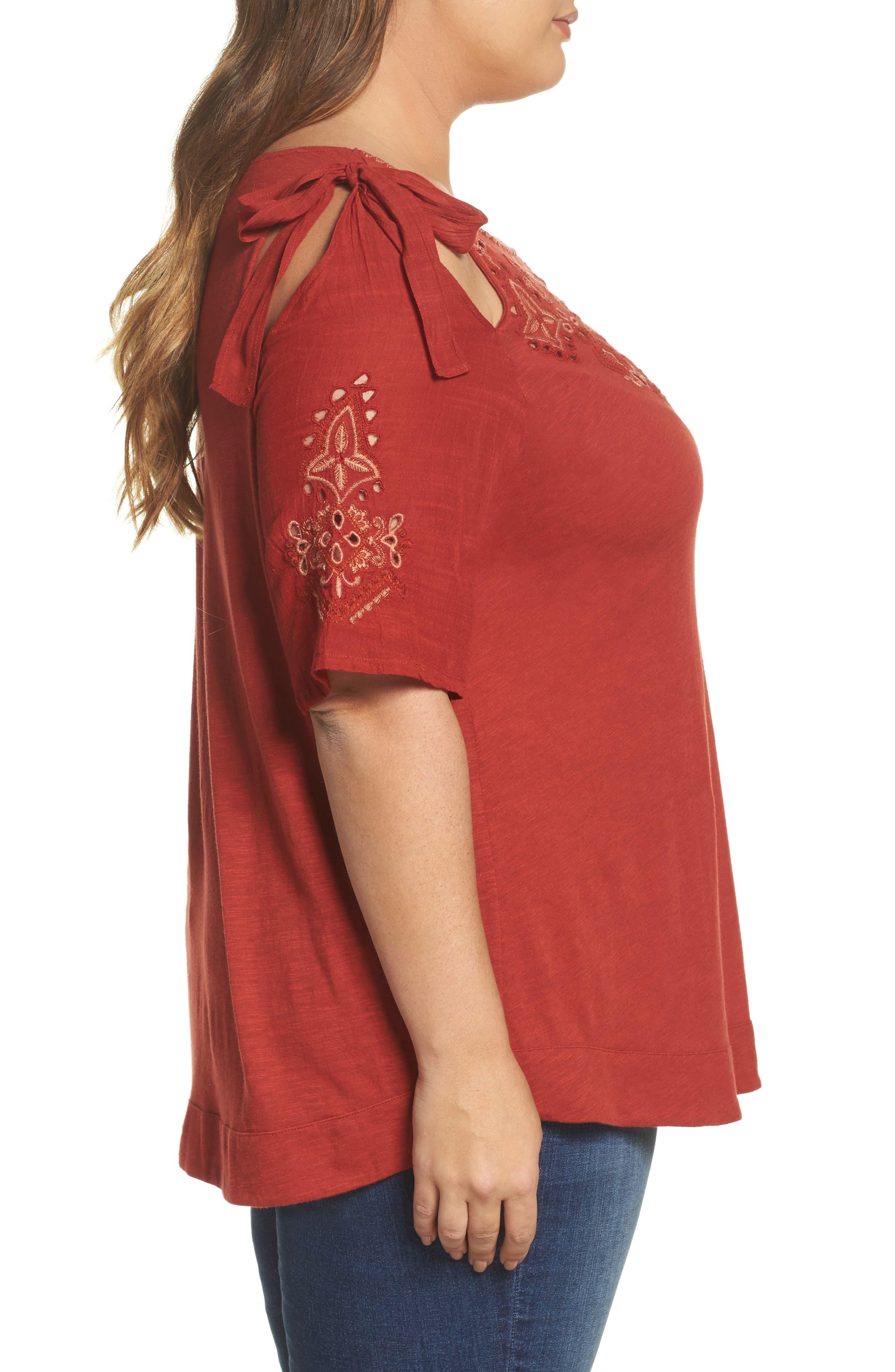 Embroidered Tie Shoulder Cold Shoulder Top,                             Alternate thumbnail 3, color,                             Heirloom Red
