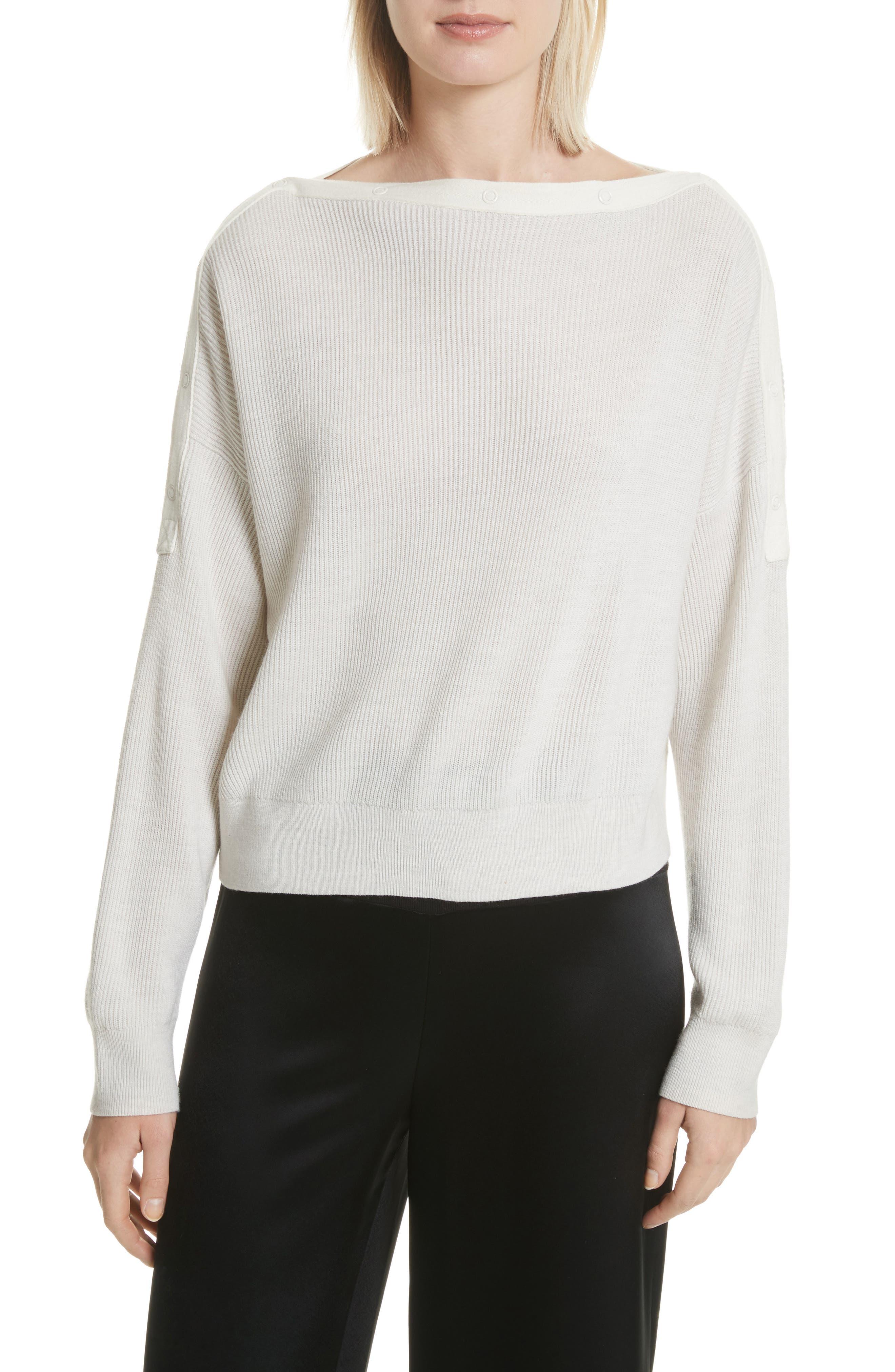 T by Alexander Wang Snap Detail Merino Wool Blend Sweater
