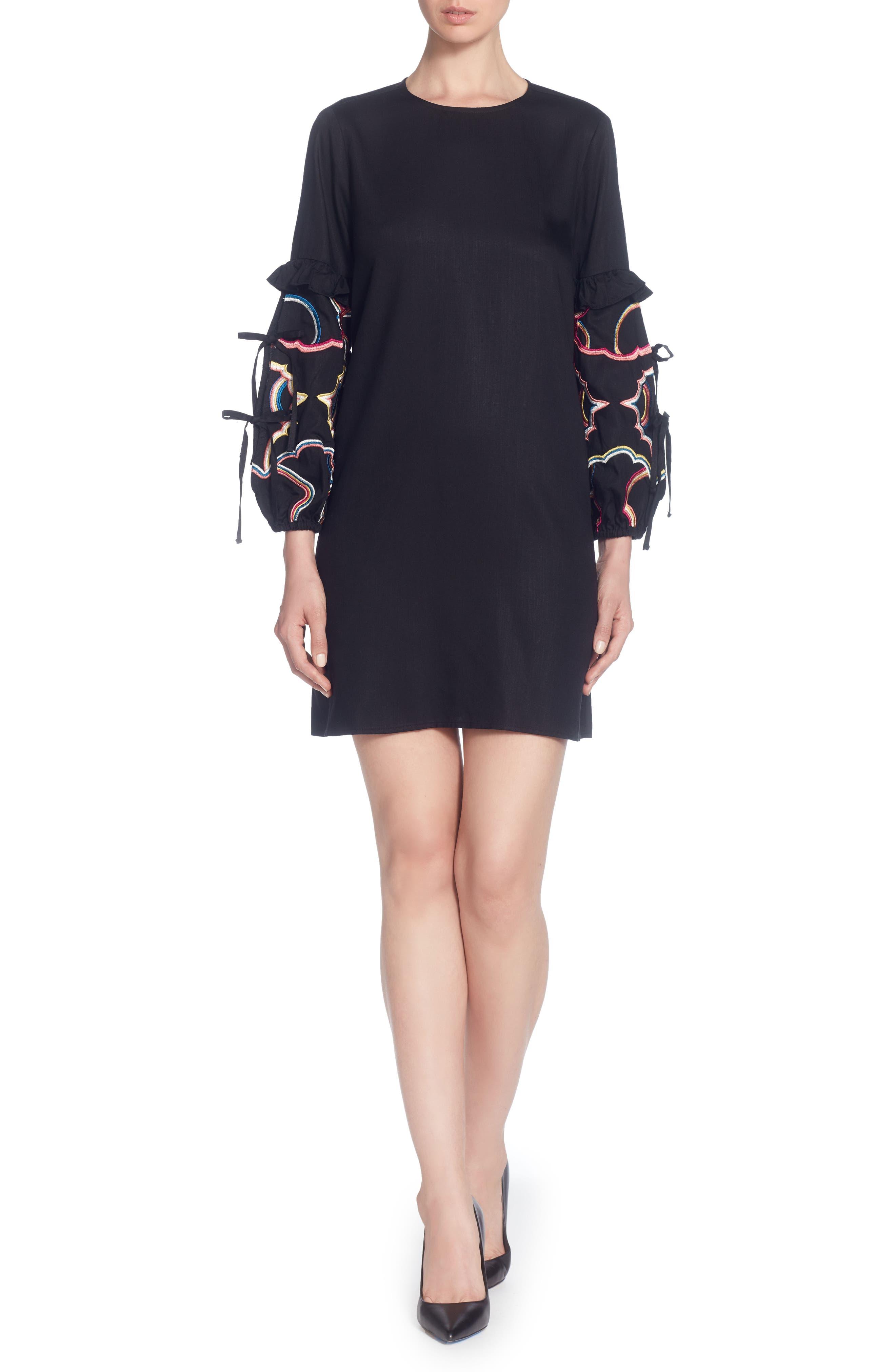 Dahl Embroidered Sleeve Dress,                         Main,                         color, Black