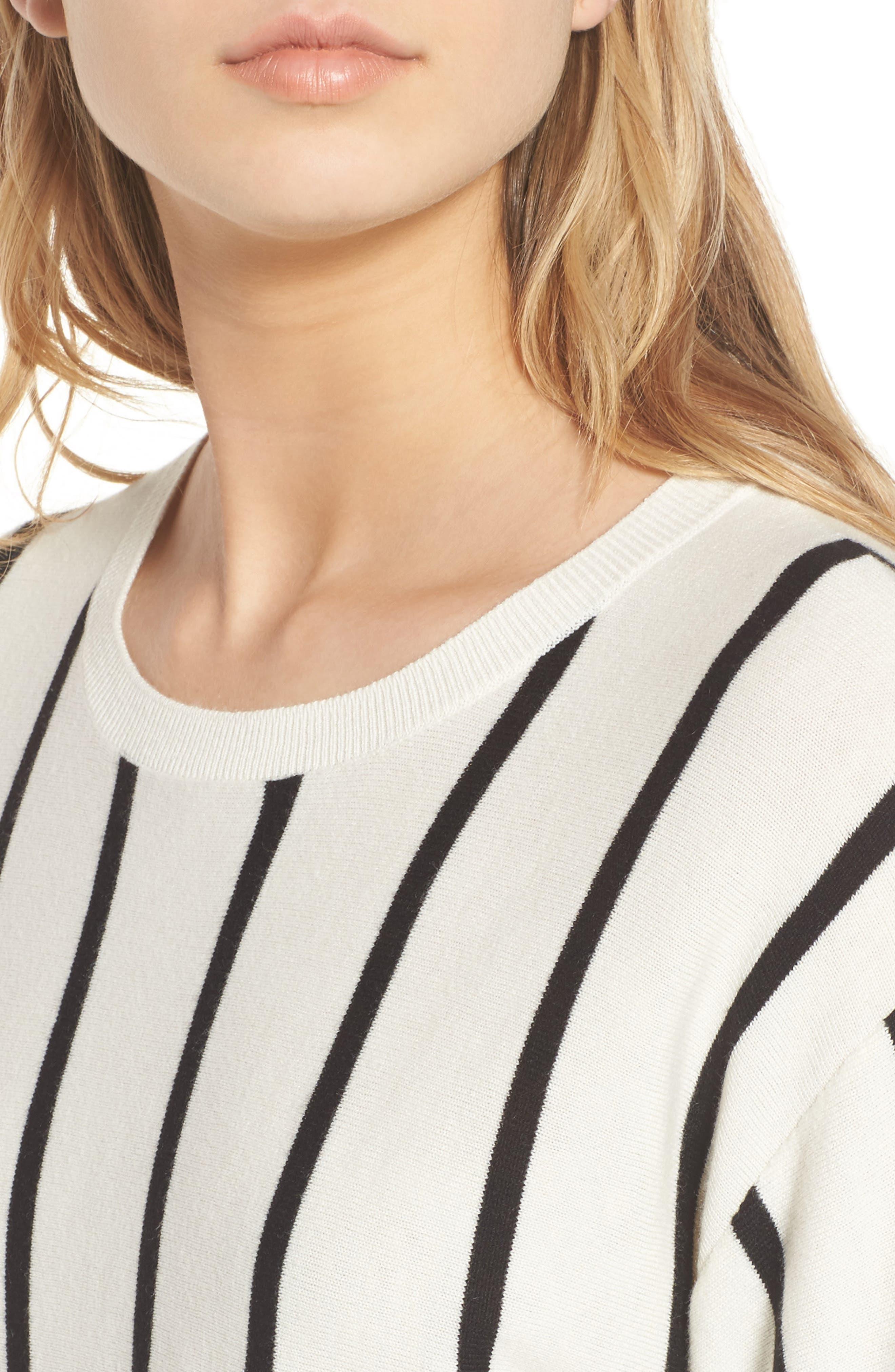 Vertical Stripe Sweater,                             Alternate thumbnail 4, color,                             Ivory/ Black Becky Stripe
