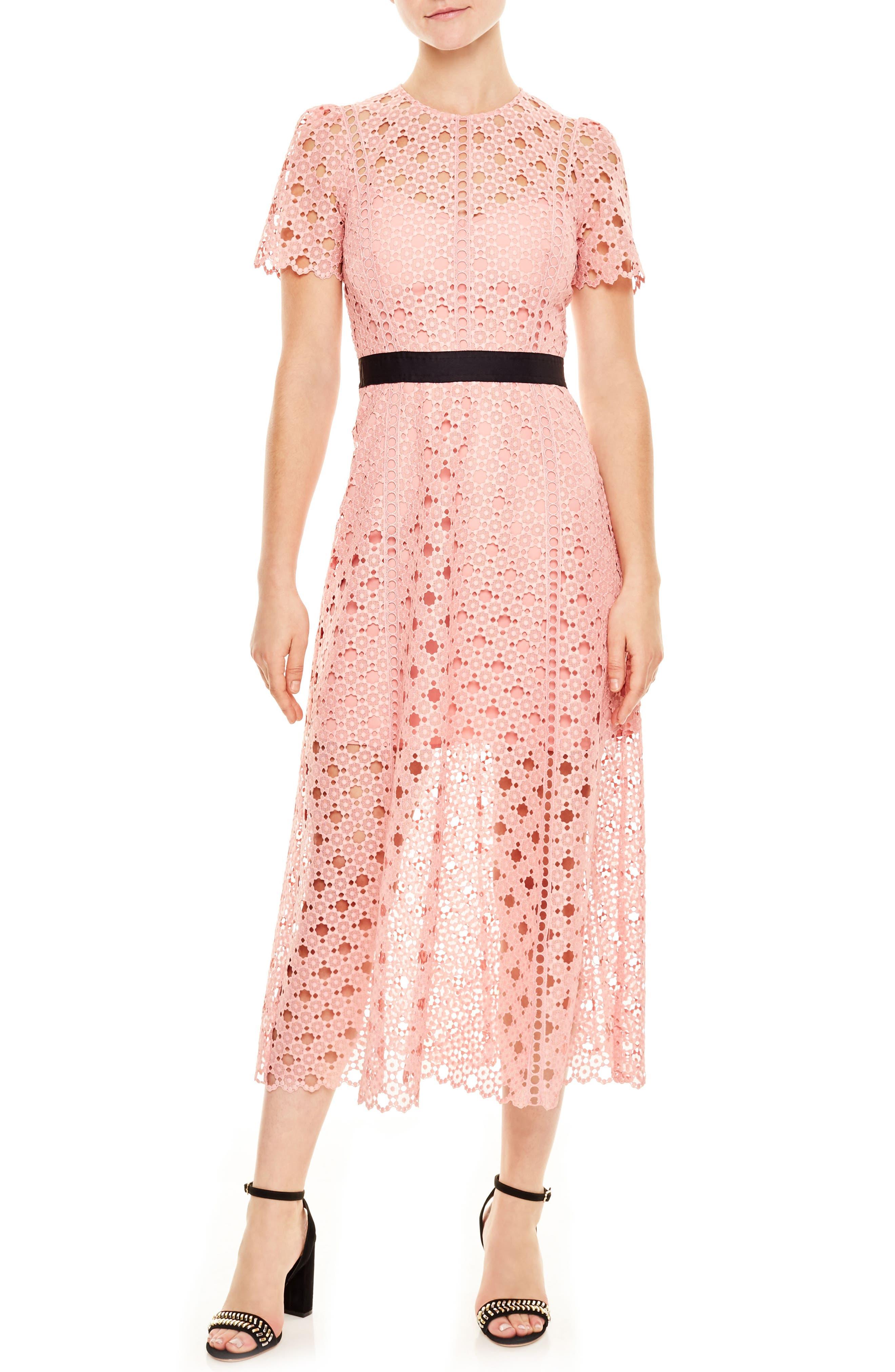 Pivoine Eyelet Lace Dress,                         Main,                         color, Peony