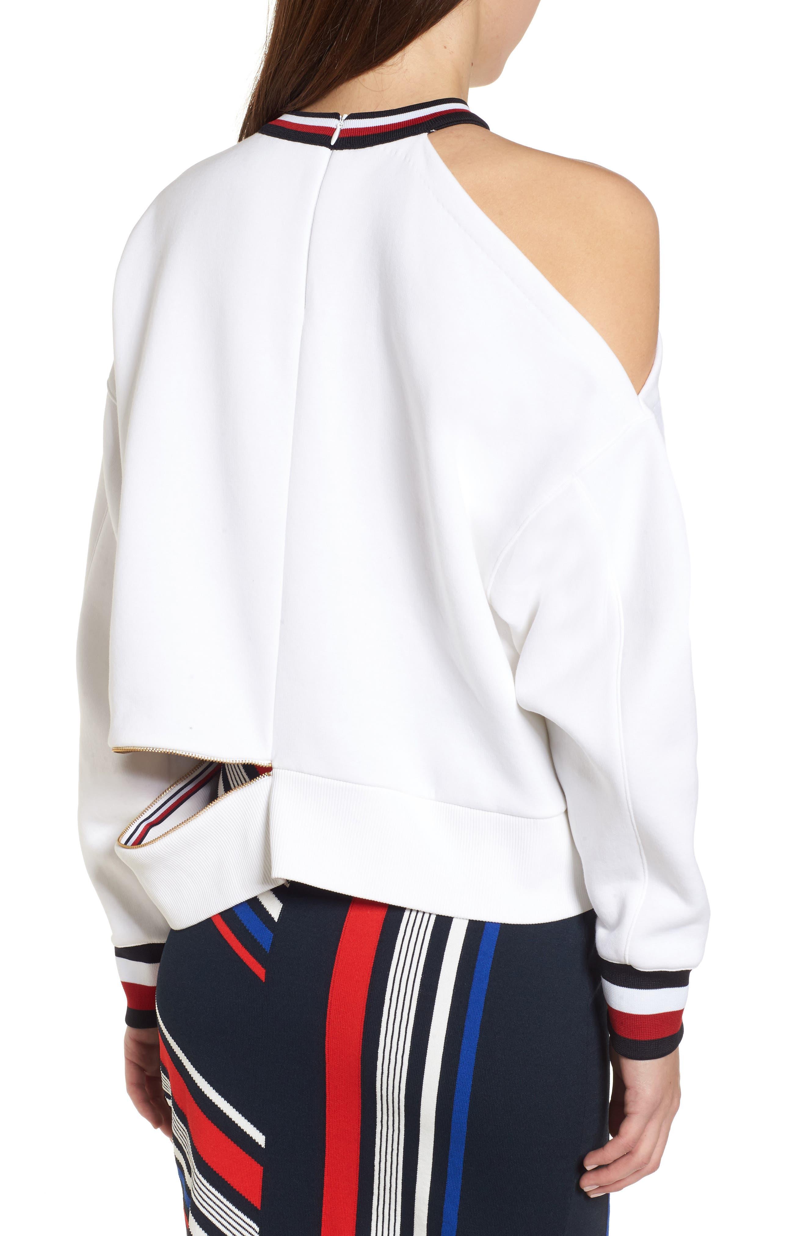 x Gigi Hadid Cold Shoulder Sweatshirt,                             Alternate thumbnail 4, color,                             Classic White