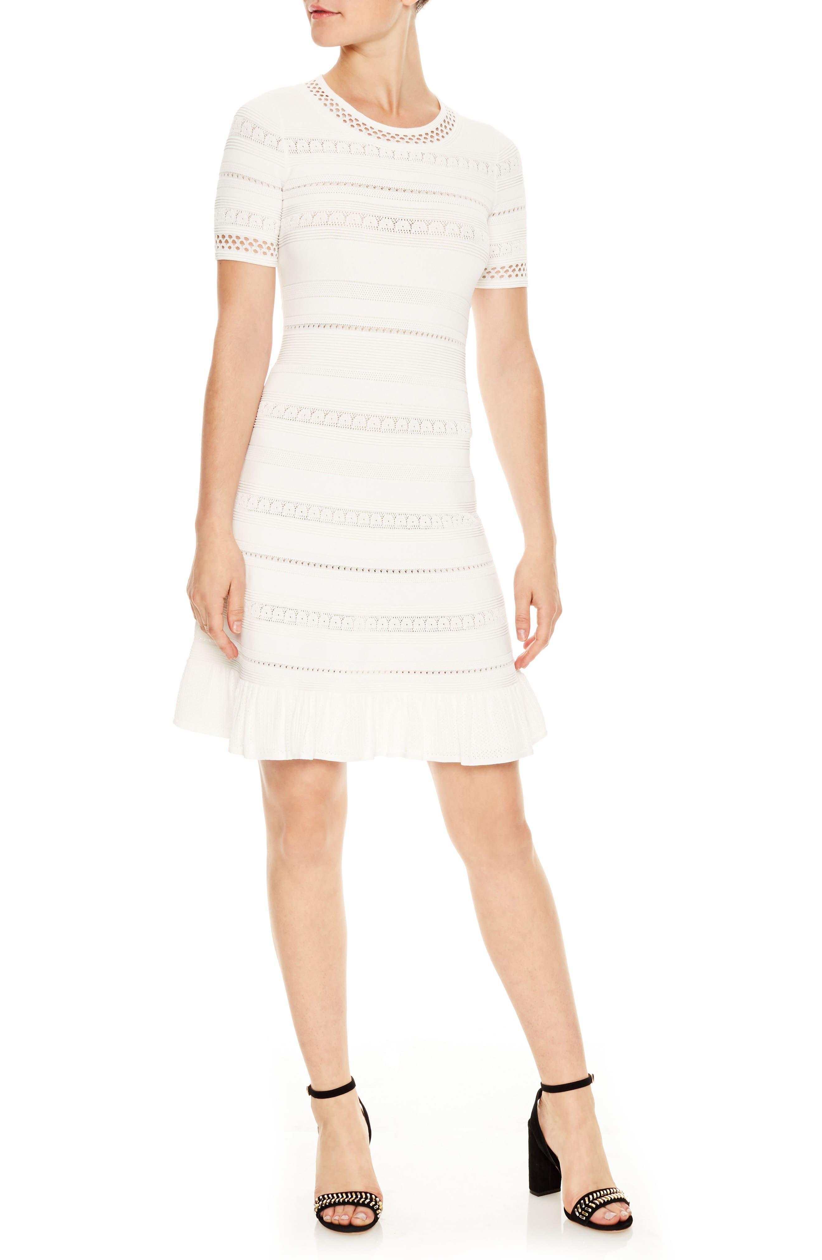 sandro Knit Eyelet Fit & Flare Dress