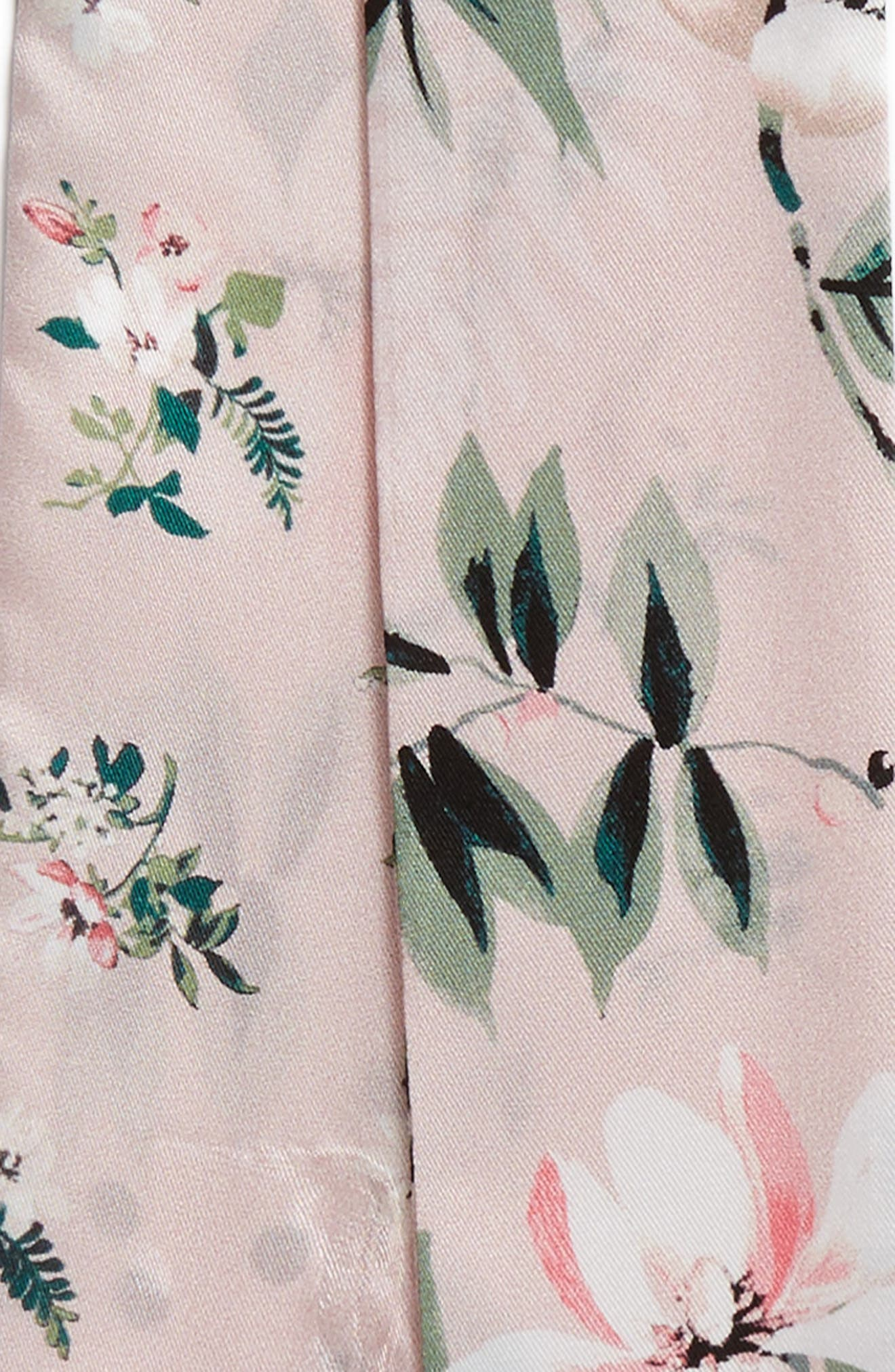 flora skinny silk scarf,                             Alternate thumbnail 4, color,                             Cameo Pink