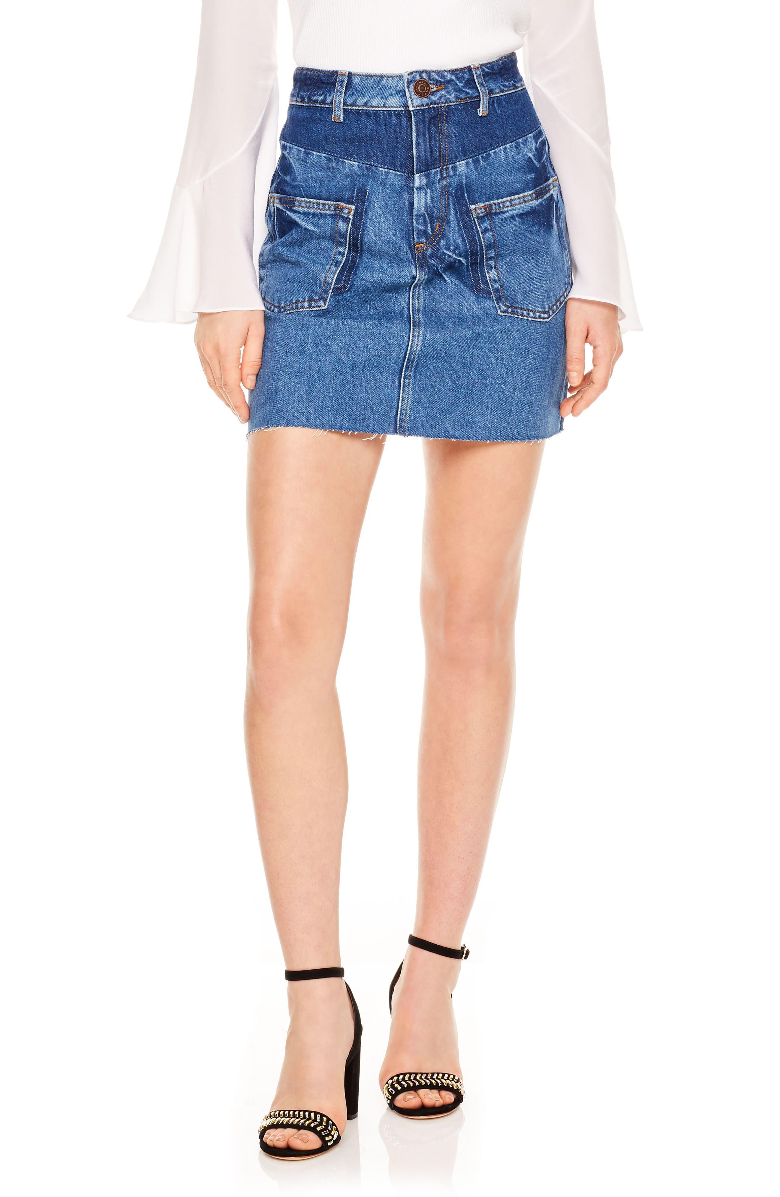 Blue Vintage Denim Skirt,                         Main,                         color, Blue