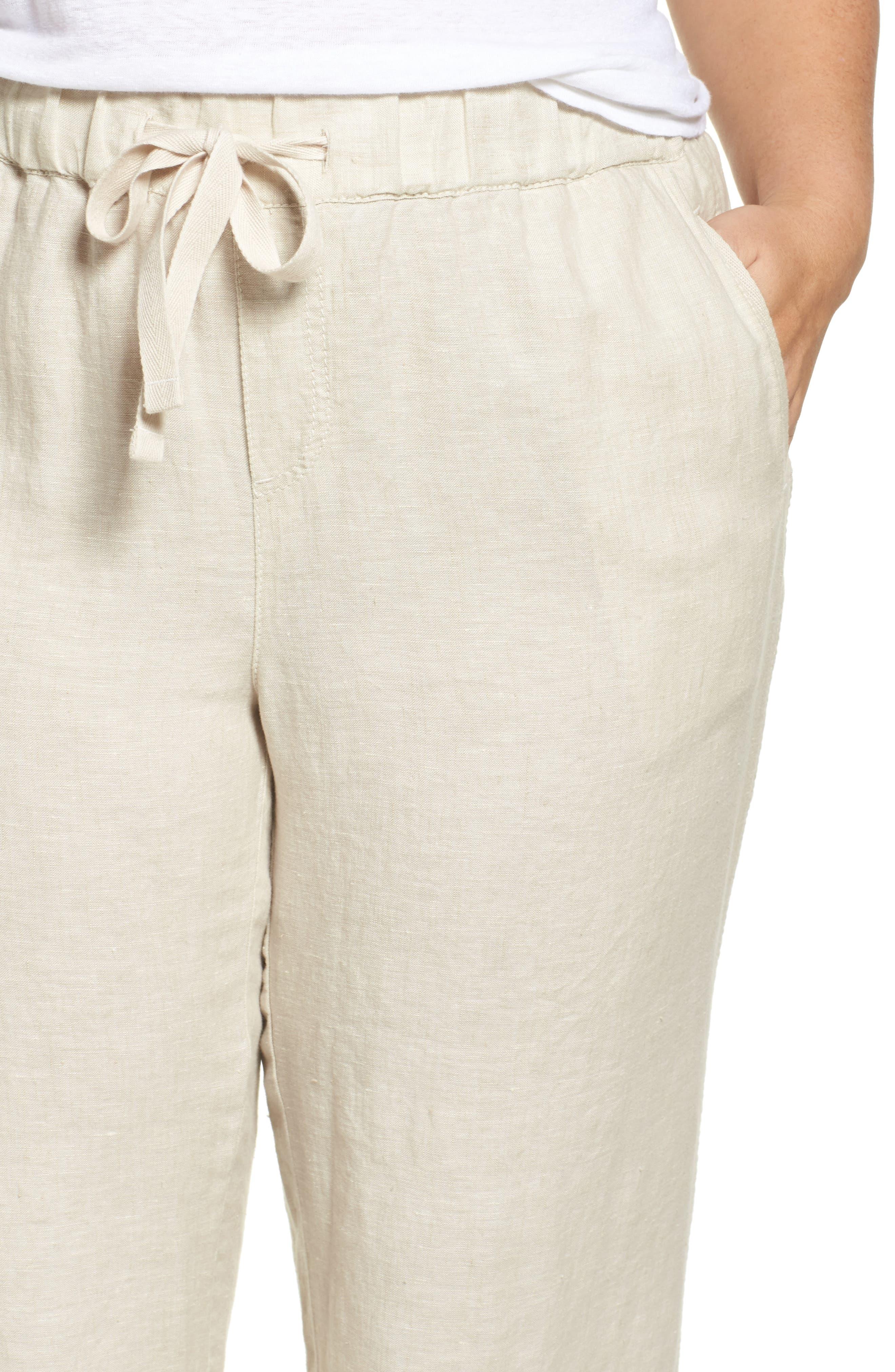 Linen Track Pants,                             Alternate thumbnail 4, color,                             Flax