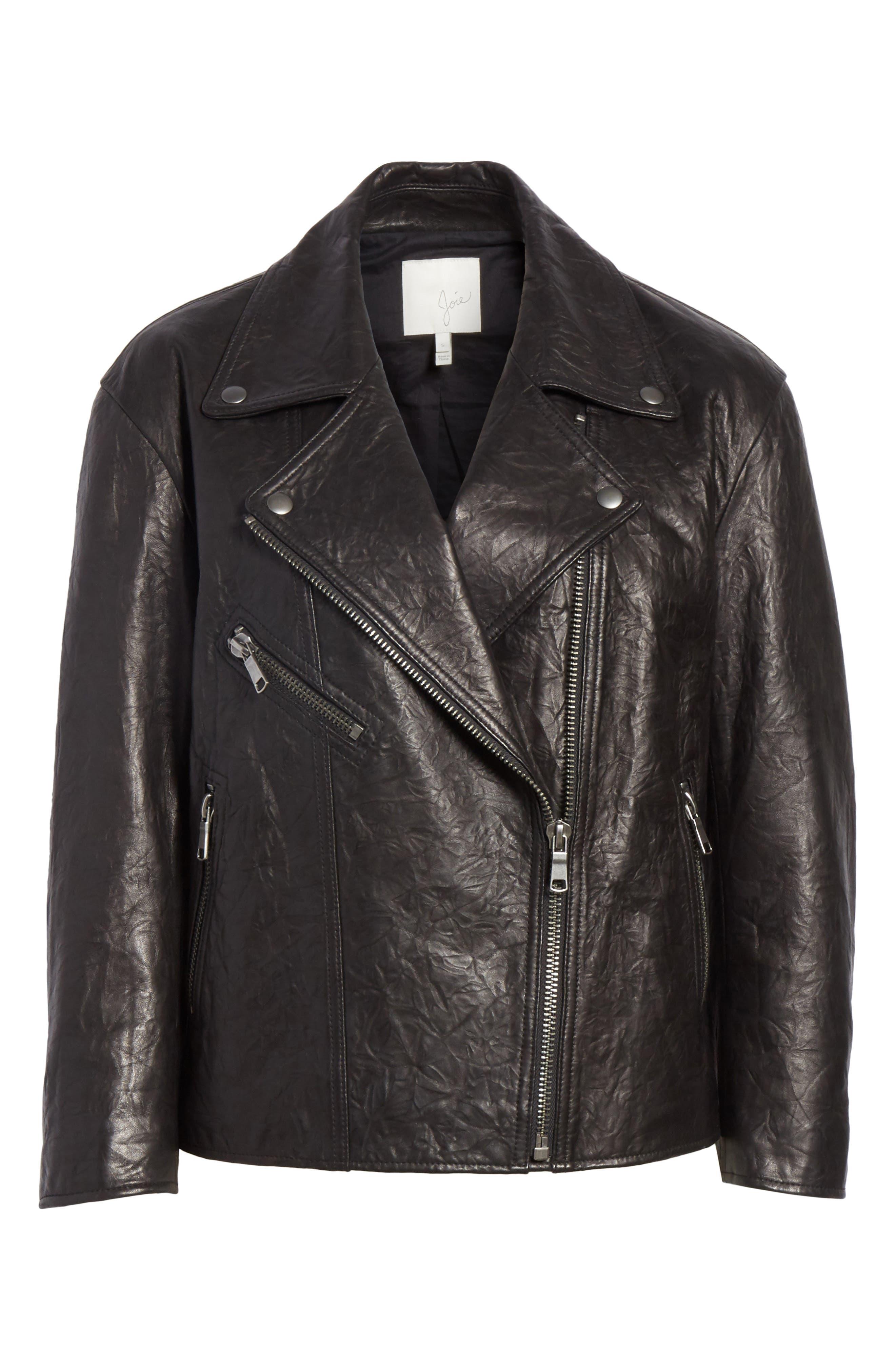 Kameke Viva La Femme Lambskin Leather Jacket,                             Alternate thumbnail 7, color,                             Caviar