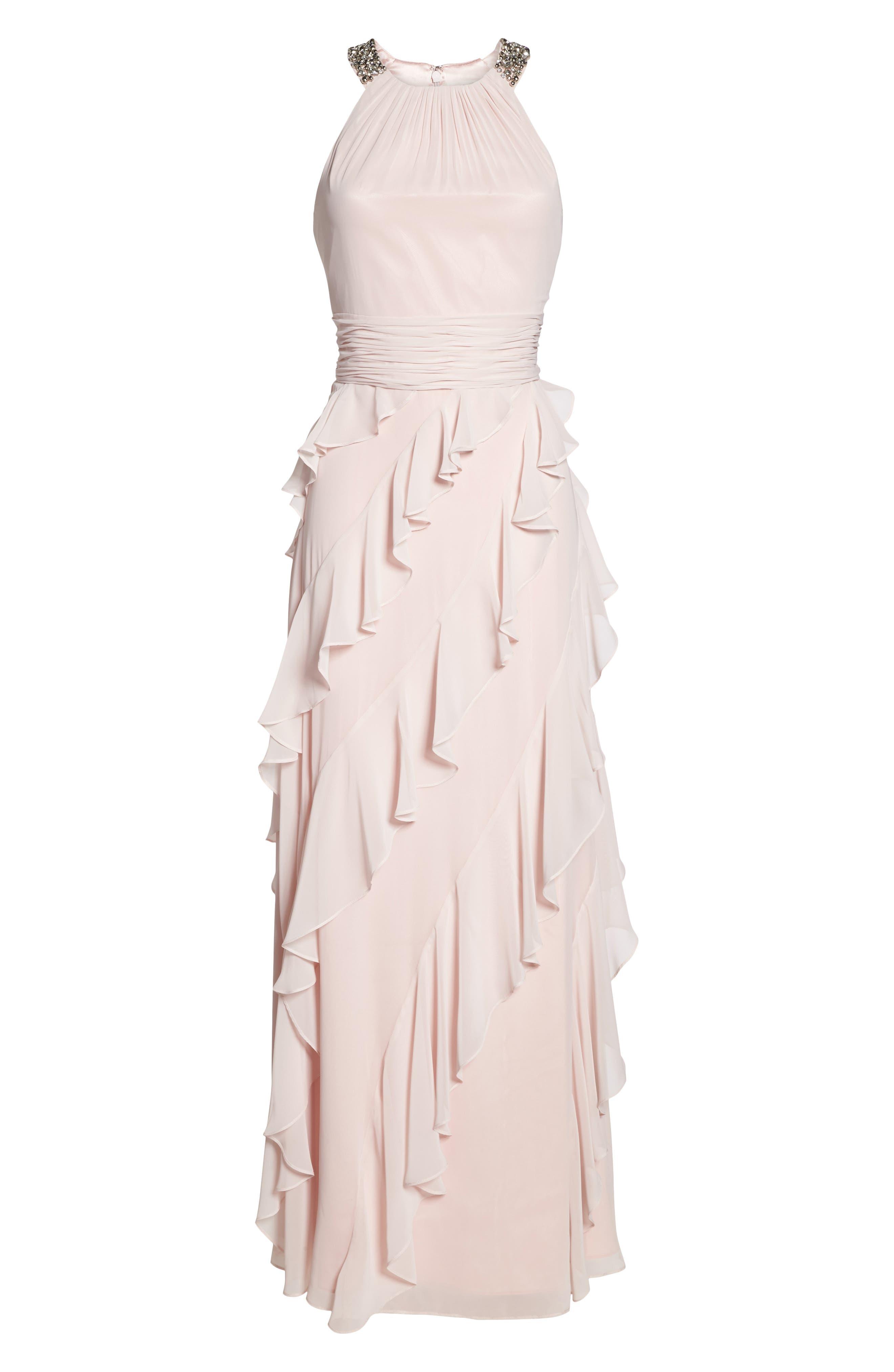 Embellished Ruffle Chiffon Gown,                             Alternate thumbnail 6, color,                             Blush