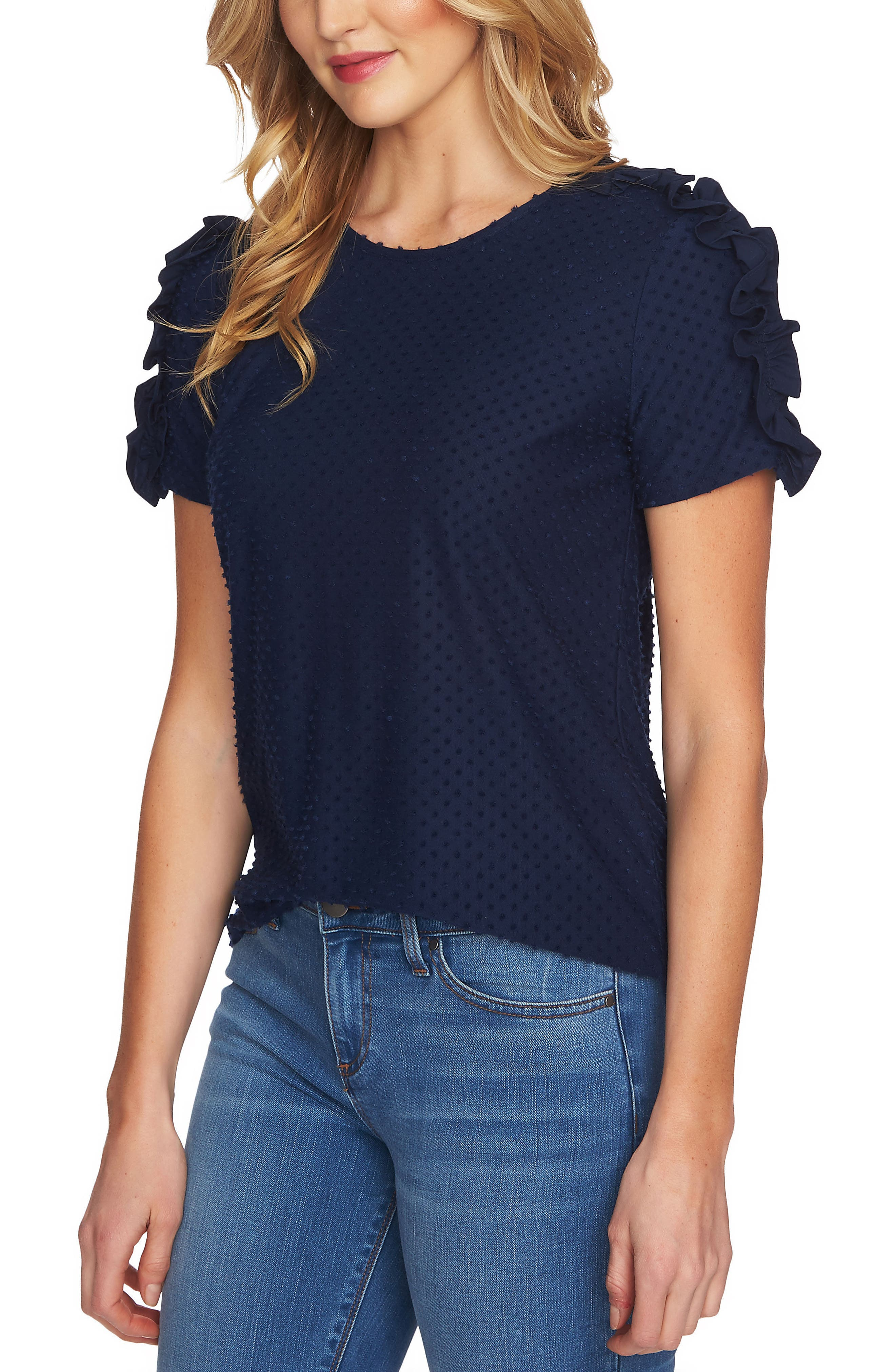 Main Image - CeCe Mixed Media Clip Knit Top