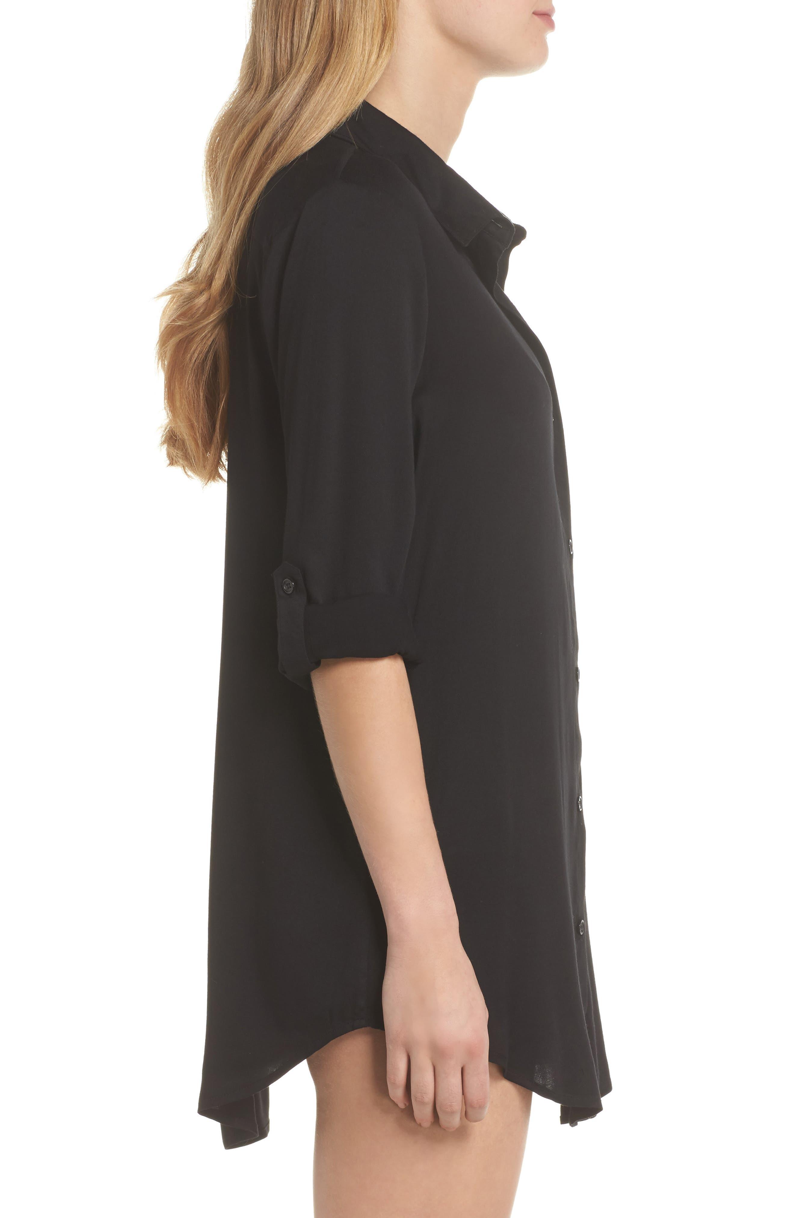 Big Sur Cover-Up Boyfriend Shirt,                             Alternate thumbnail 3, color,                             Black