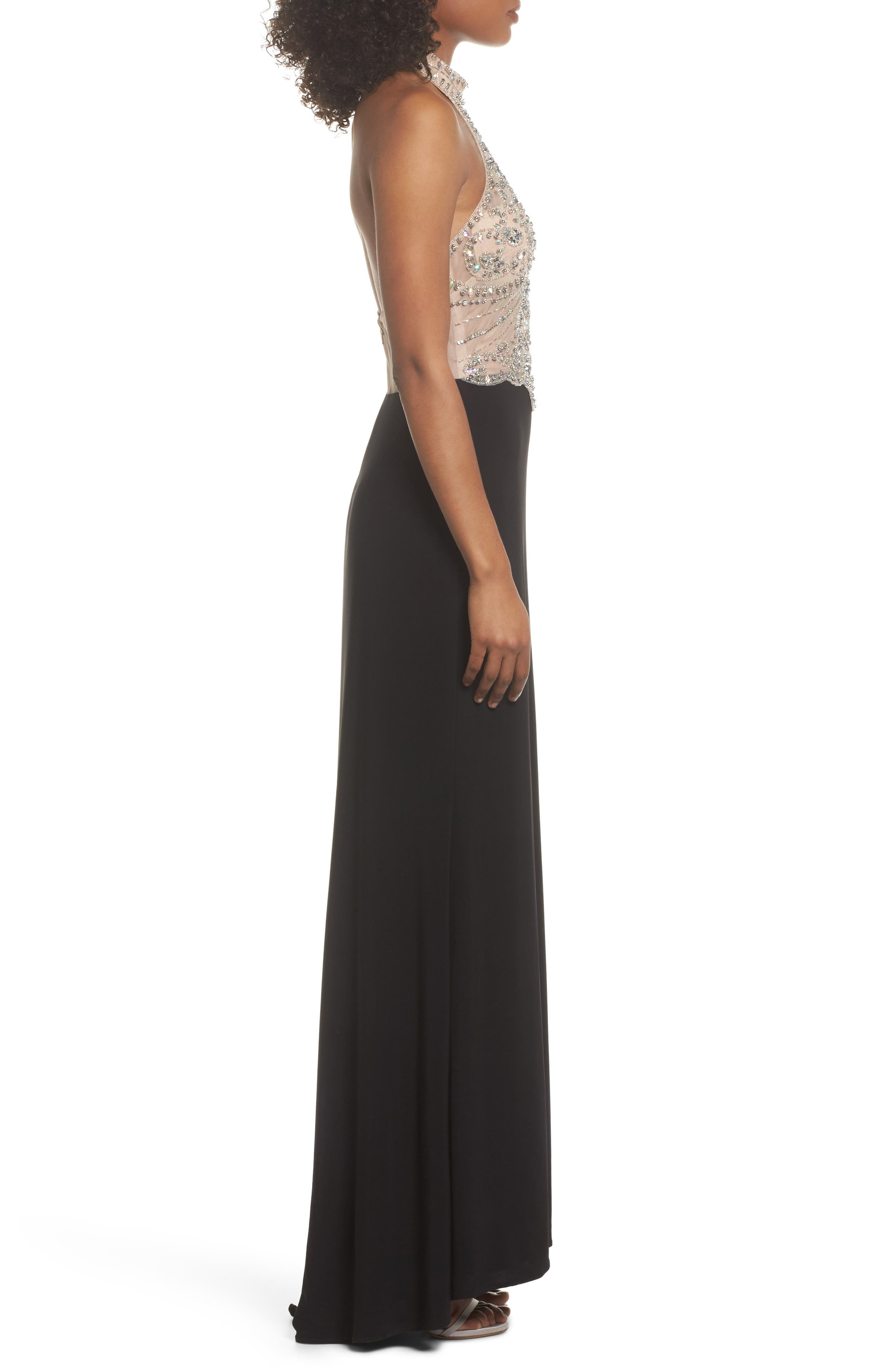 Embellished Bodice Halter Knit Gown,                             Alternate thumbnail 3, color,                             Nude/ Black