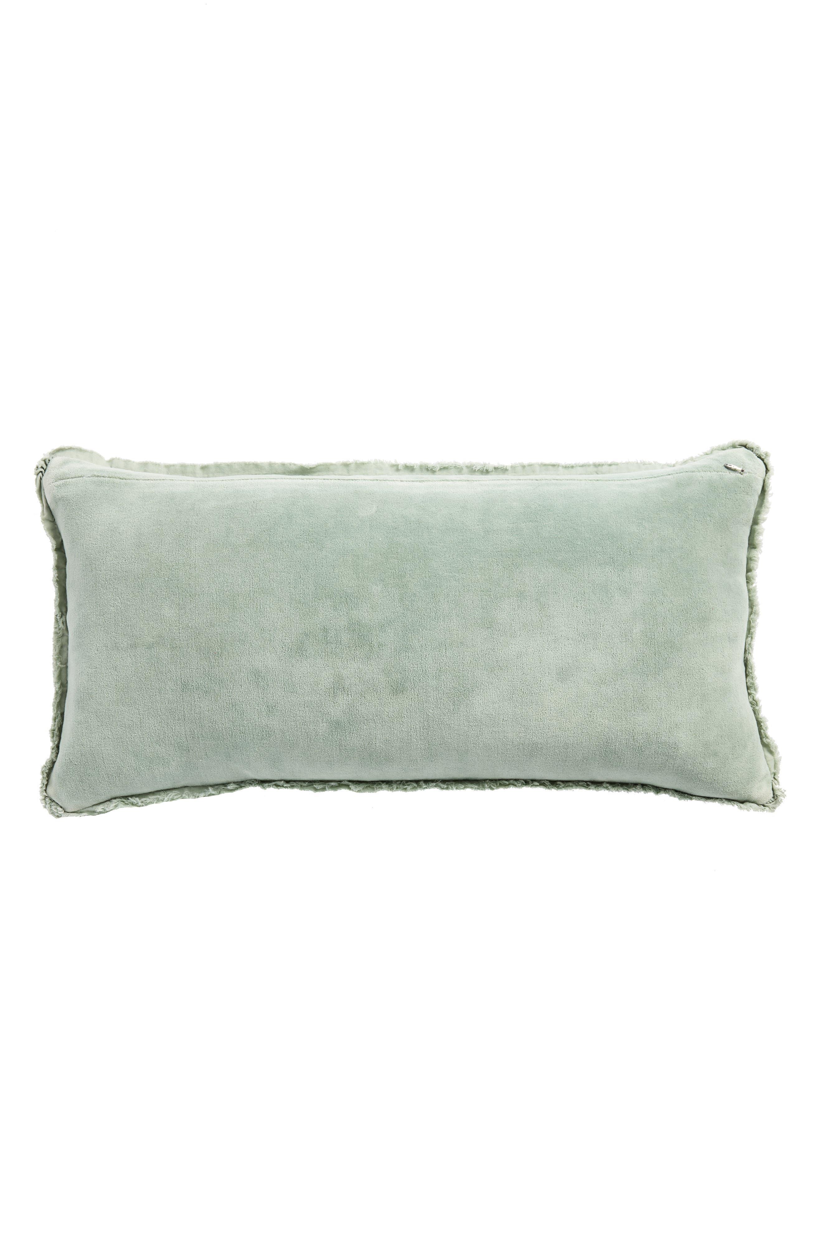 Velvet Accent Pillow,                             Alternate thumbnail 4, color,                             Green Slate