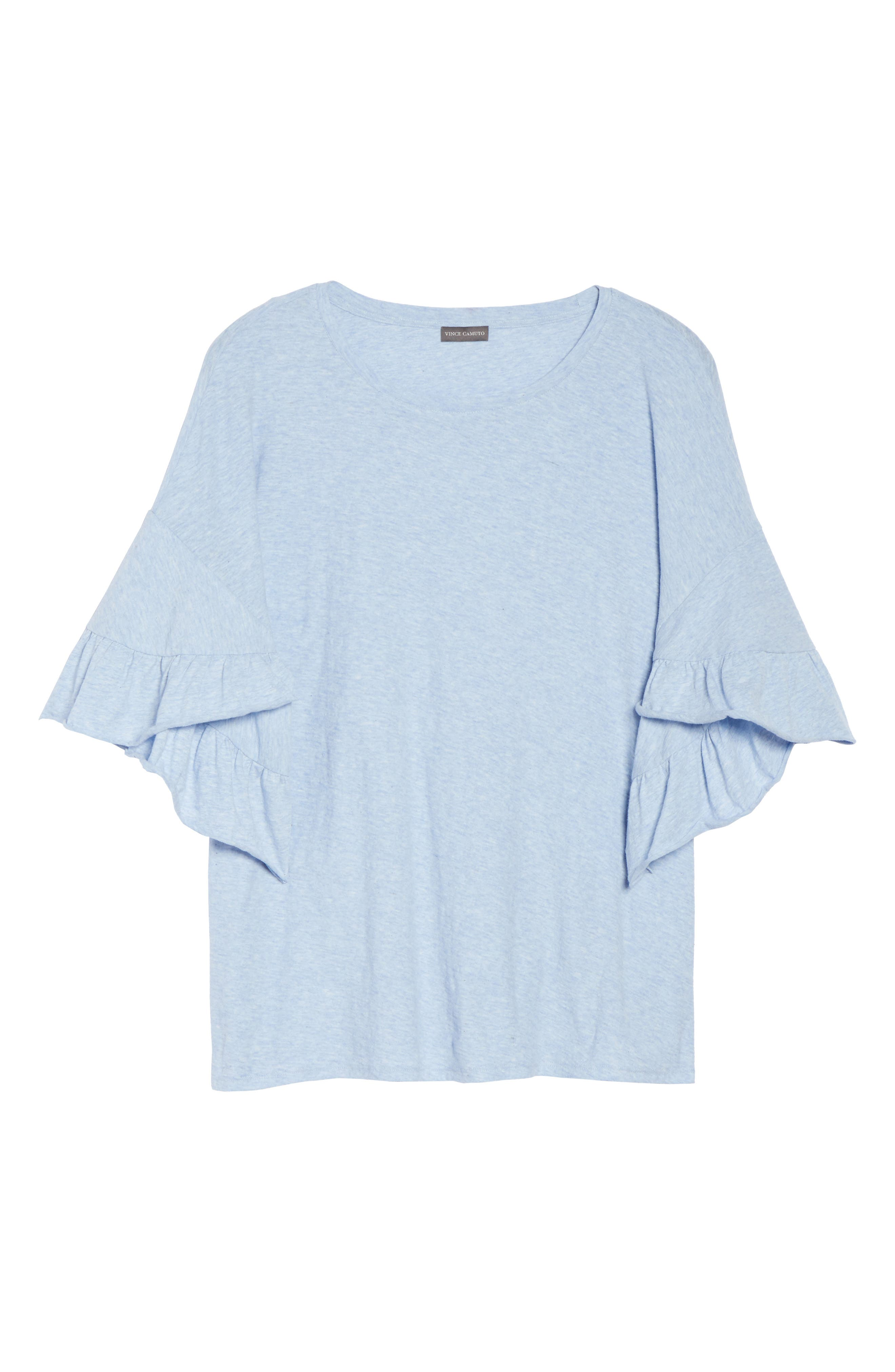 Drop Shoulder Tiered Ruffle Sleeve Top,                             Alternate thumbnail 7, color,                             Lt Chambray Heather