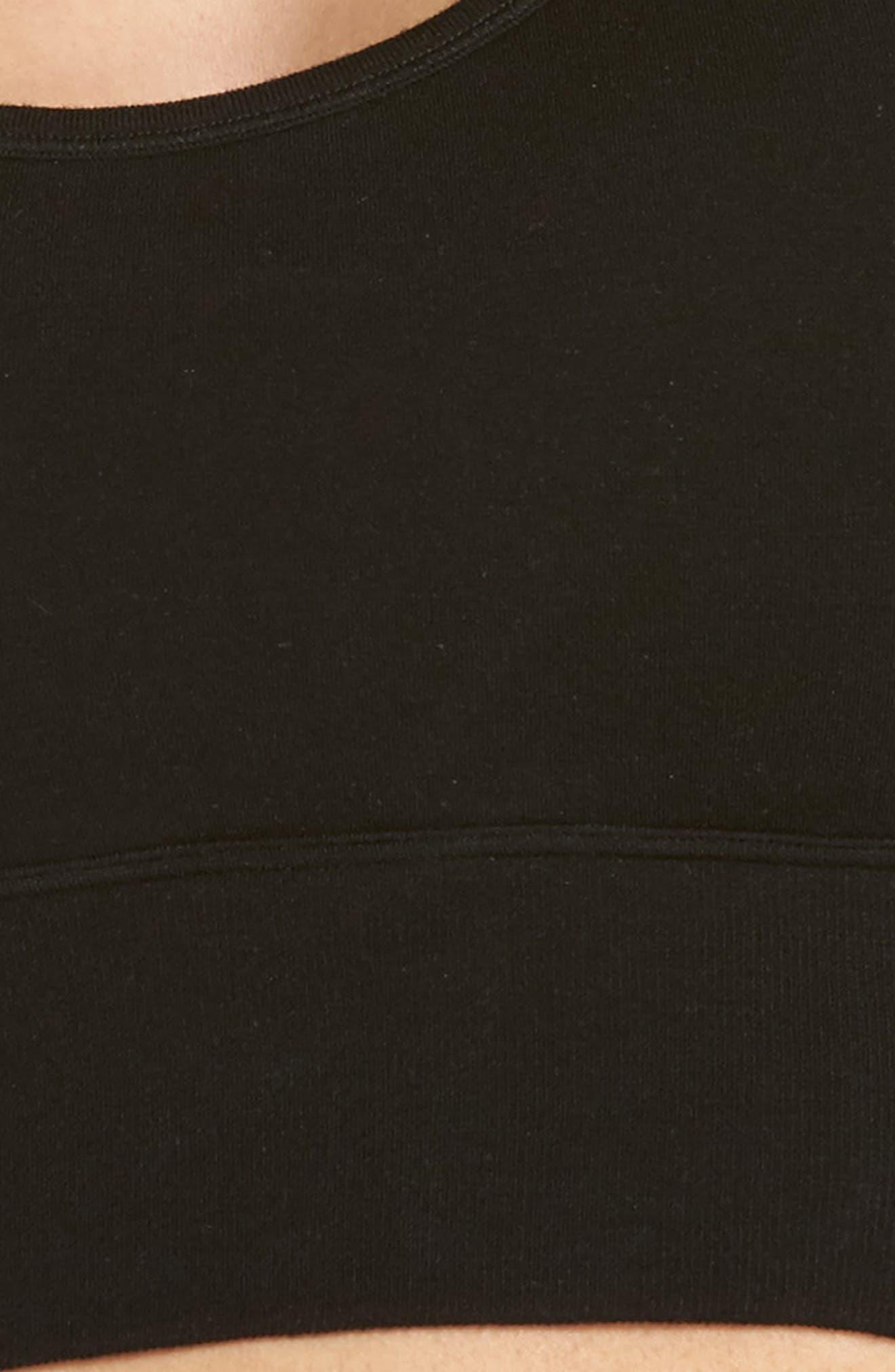 Cross Back Longline Bralette,                             Alternate thumbnail 5, color,                             Black