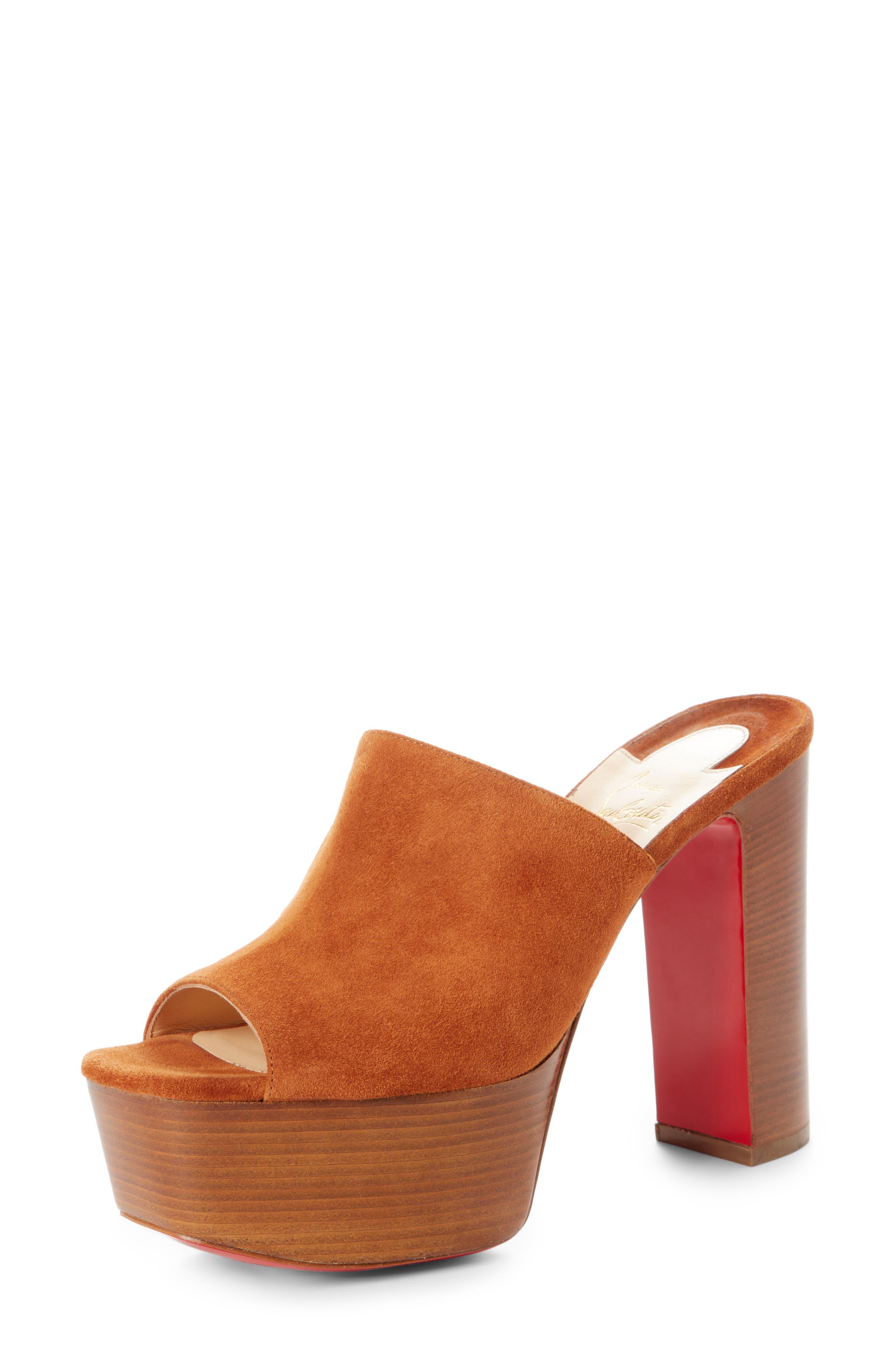 Christian Louboutin Suede Platform Mule Sandal (Women)