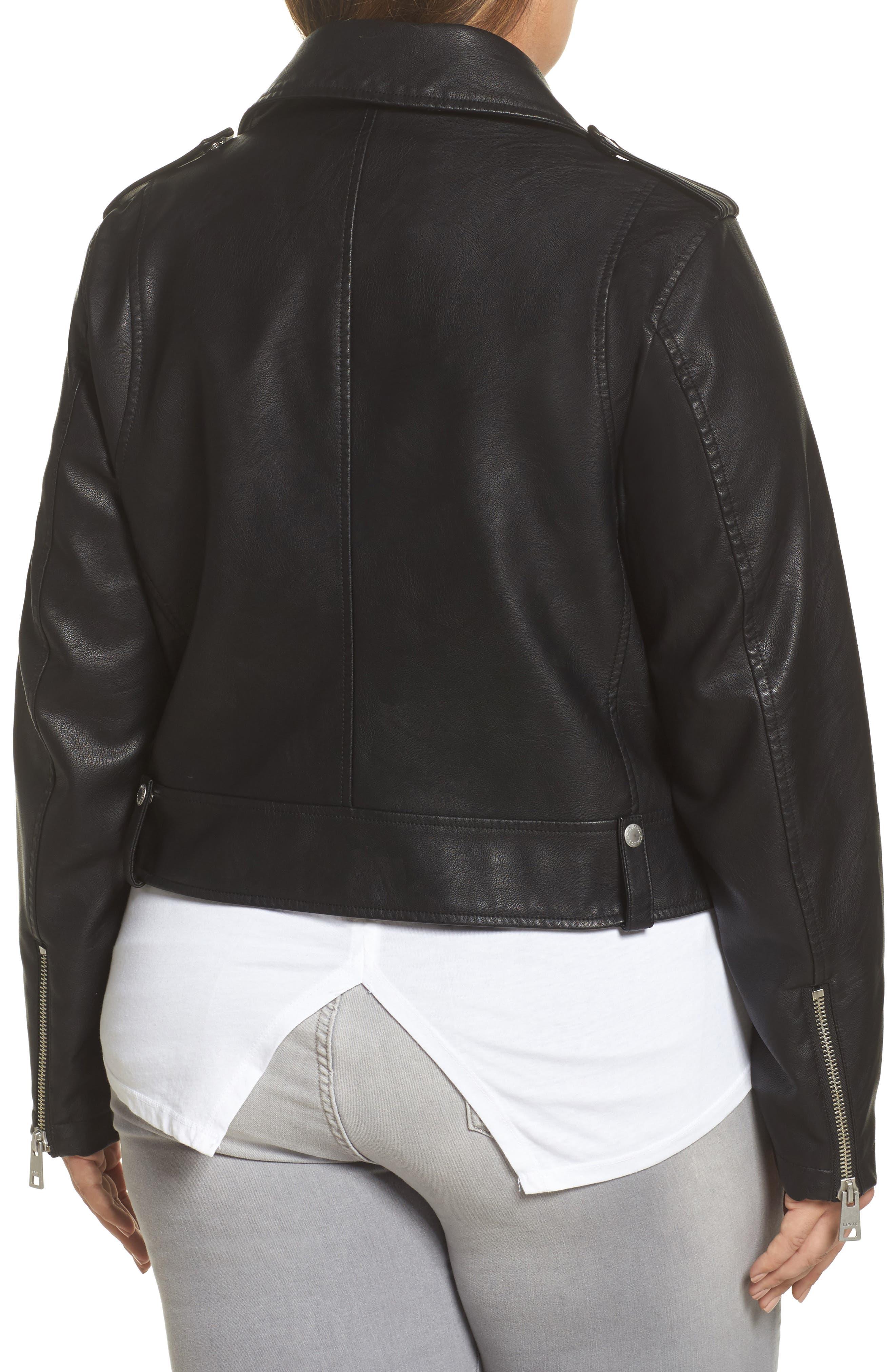 Lamb Touch Faux Leather Moto Jacket,                             Alternate thumbnail 2, color,                             Black