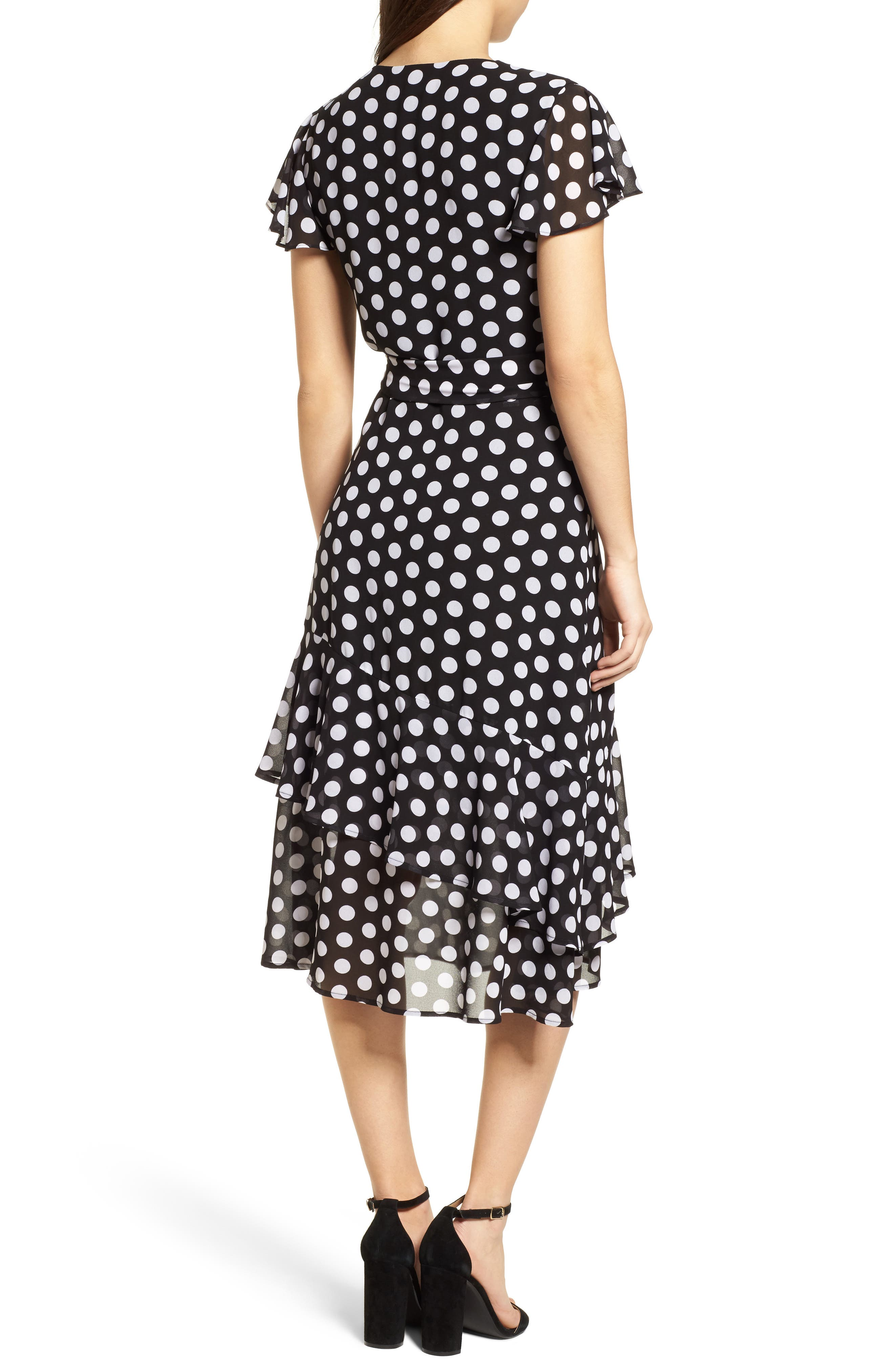 Simple Dot Wrap Dress,                             Alternate thumbnail 2, color,                             Black/ White