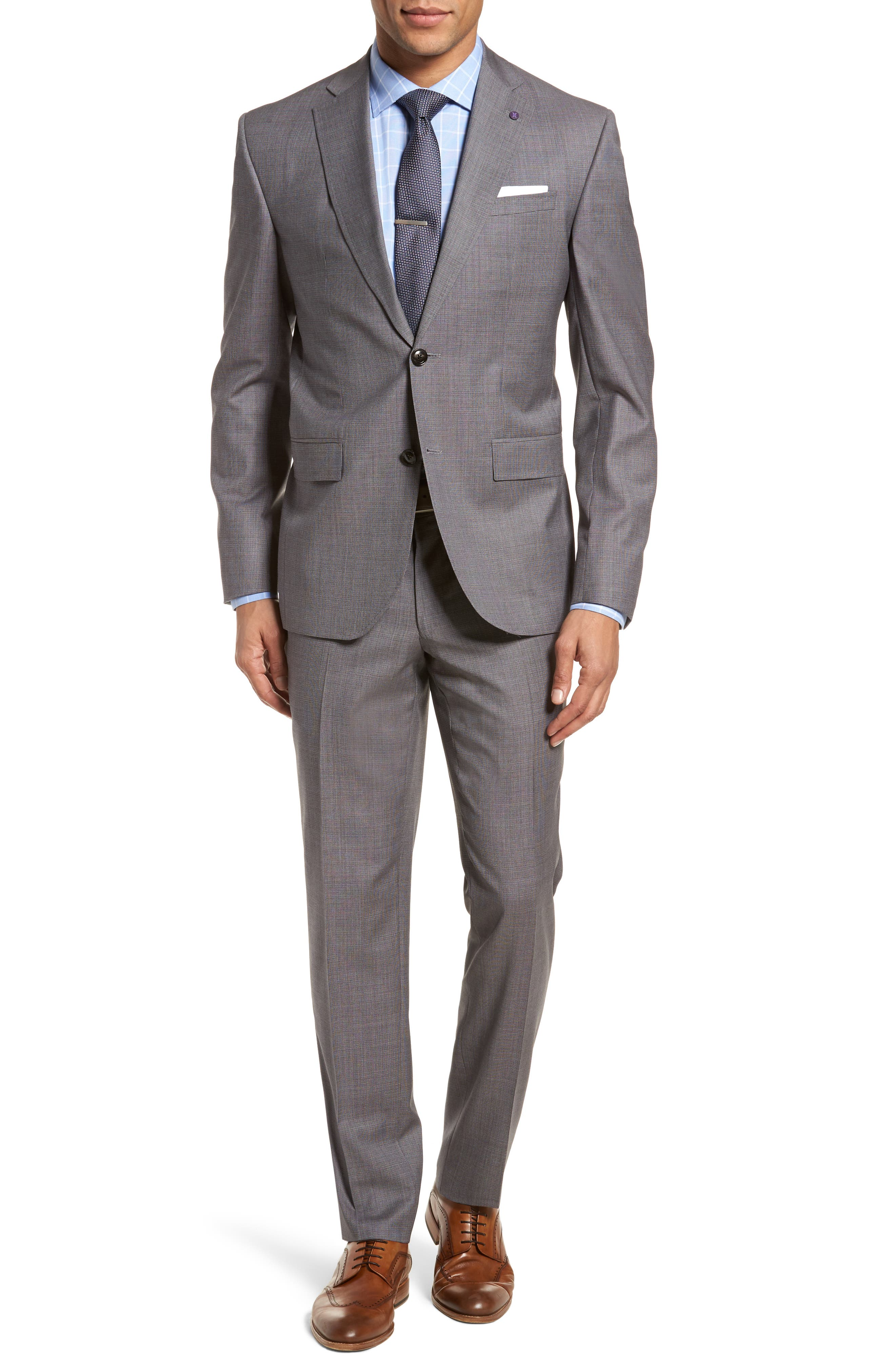 Roger Extra Slim Fit Solid Wool Suit,                             Main thumbnail 1, color,                             Taupe