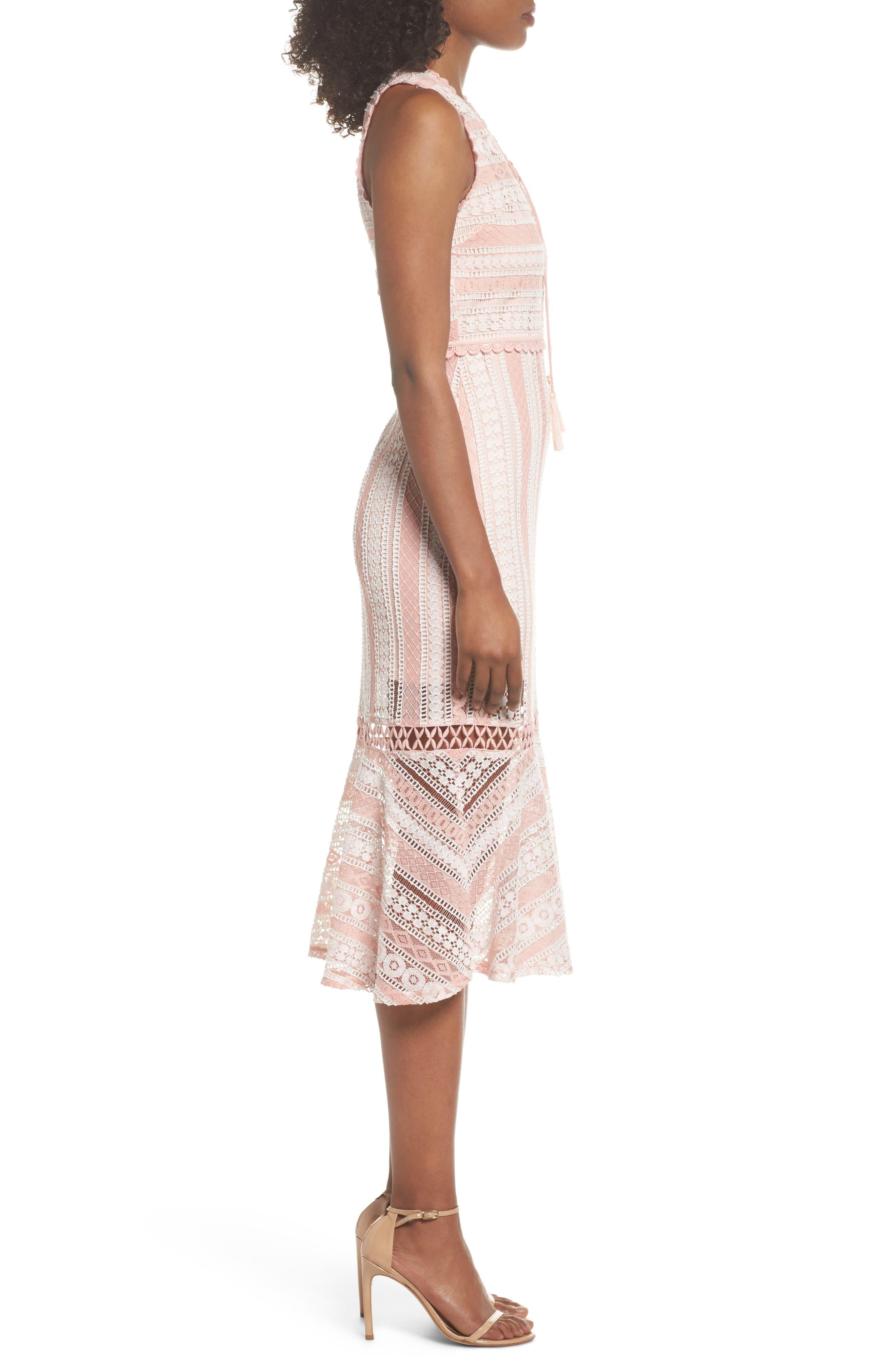 Clarinda Lace Midi Dress,                             Alternate thumbnail 3, color,                             Pink