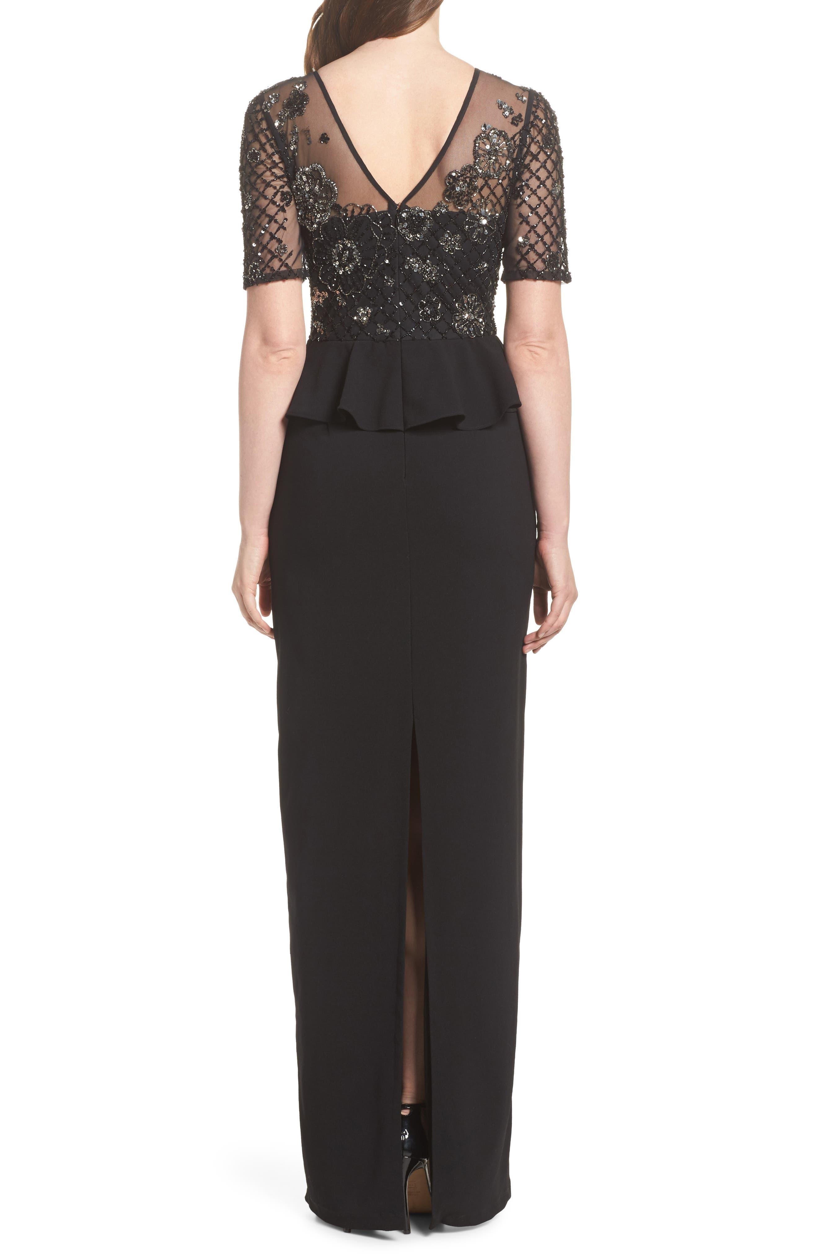 Sequin Peplum Waist Column Gown,                             Alternate thumbnail 2, color,                             Black/ Mercury