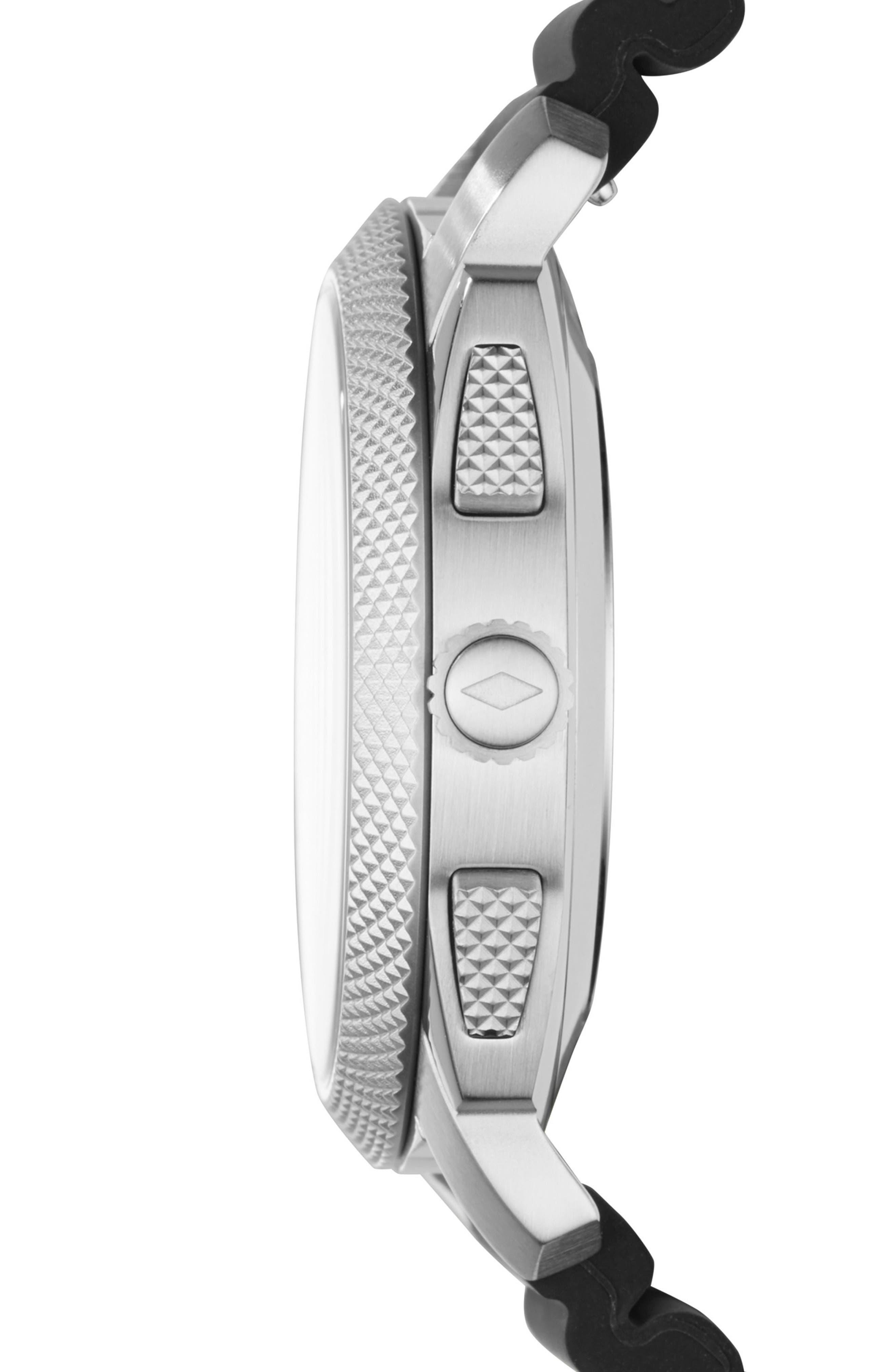 Machine Silicone Strap Hybrid Smart Watch, 45mm,                             Alternate thumbnail 2, color,                             Black/ Silver