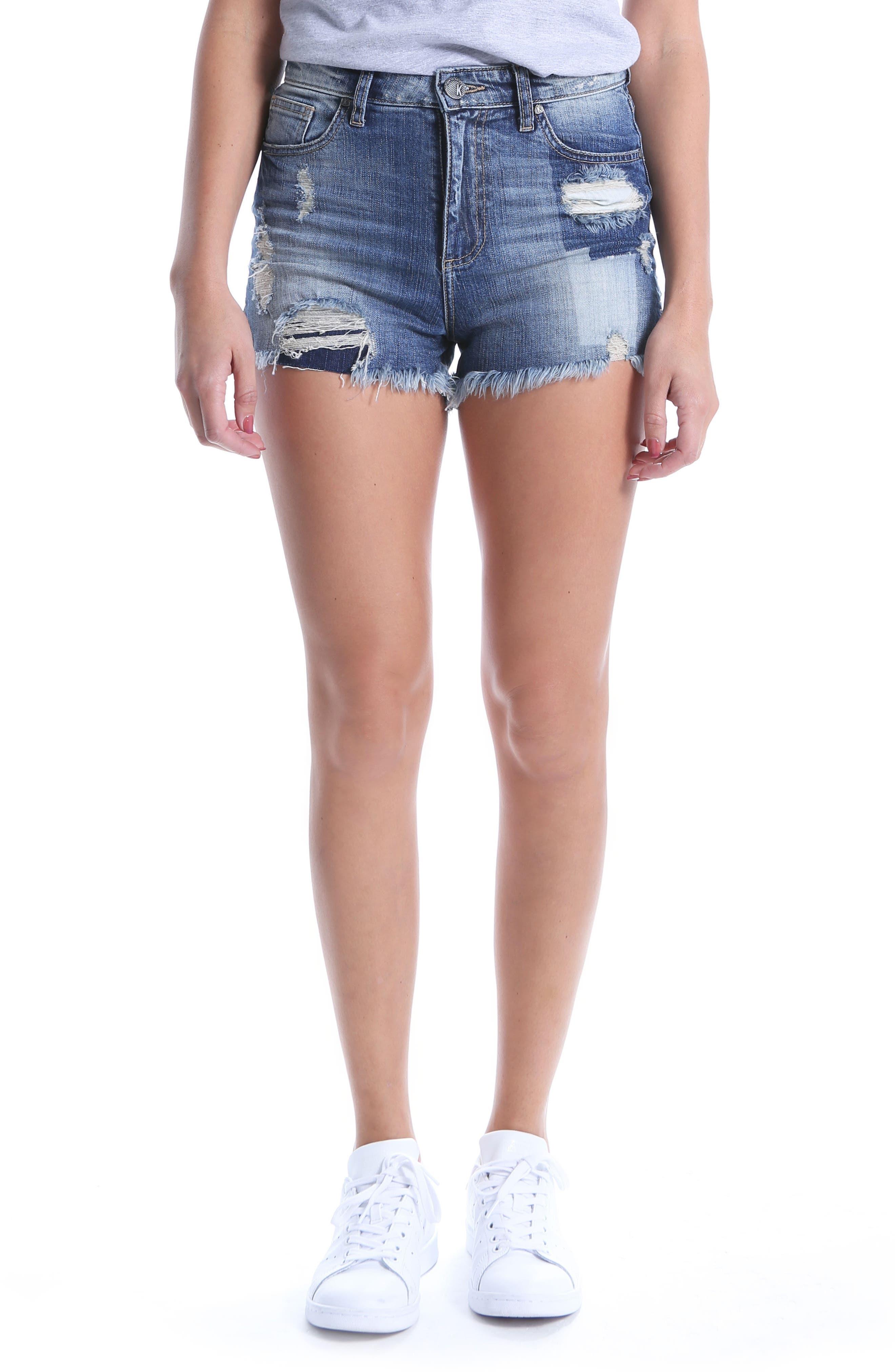 KUT Kollection High Waist Ripped Denim Shorts,                         Main,                         color, Debuted