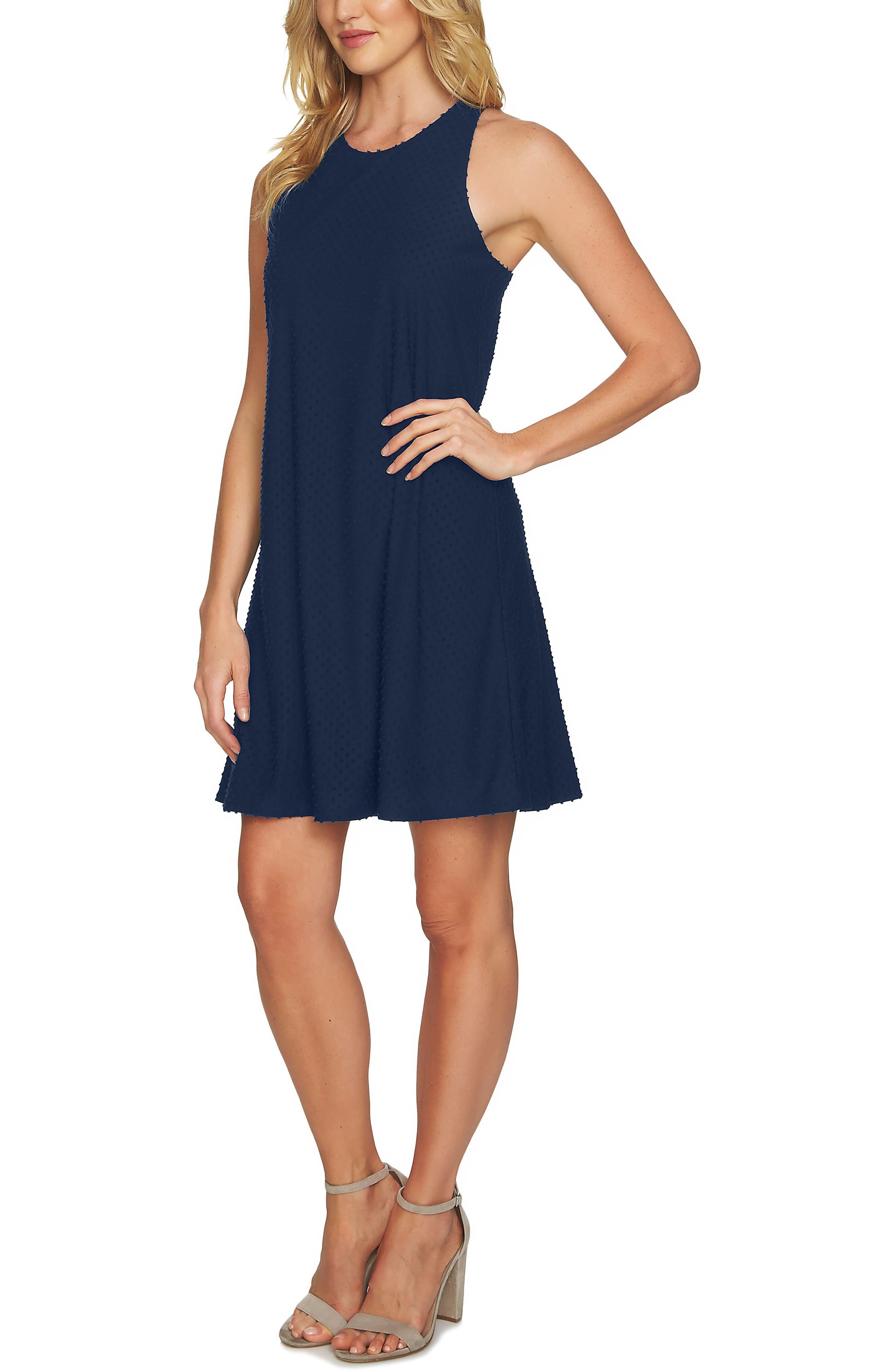 Twist Back Clip Dot Sleeveless Dress,                             Main thumbnail 1, color,                             Naval Navy