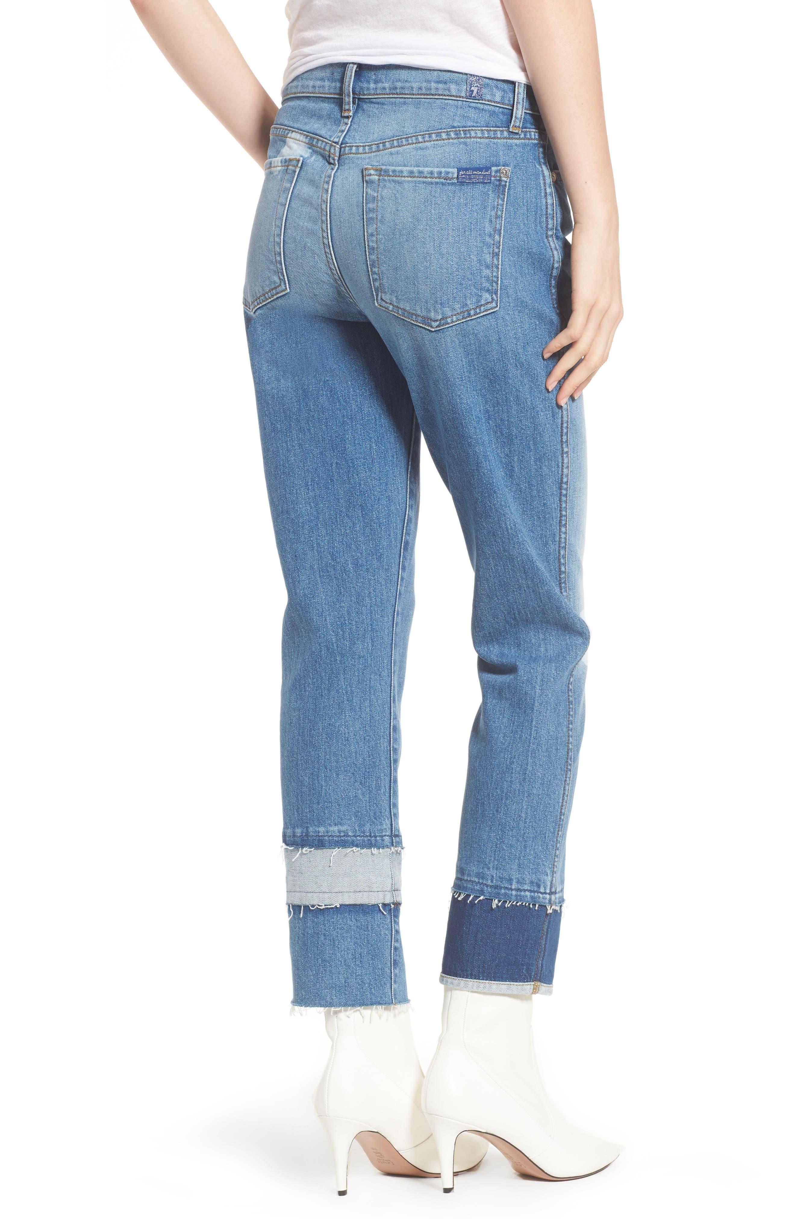 Edie Pieced Hem Cropped Jeans,                             Alternate thumbnail 2, color,                             Vintage Blue Dunes 2