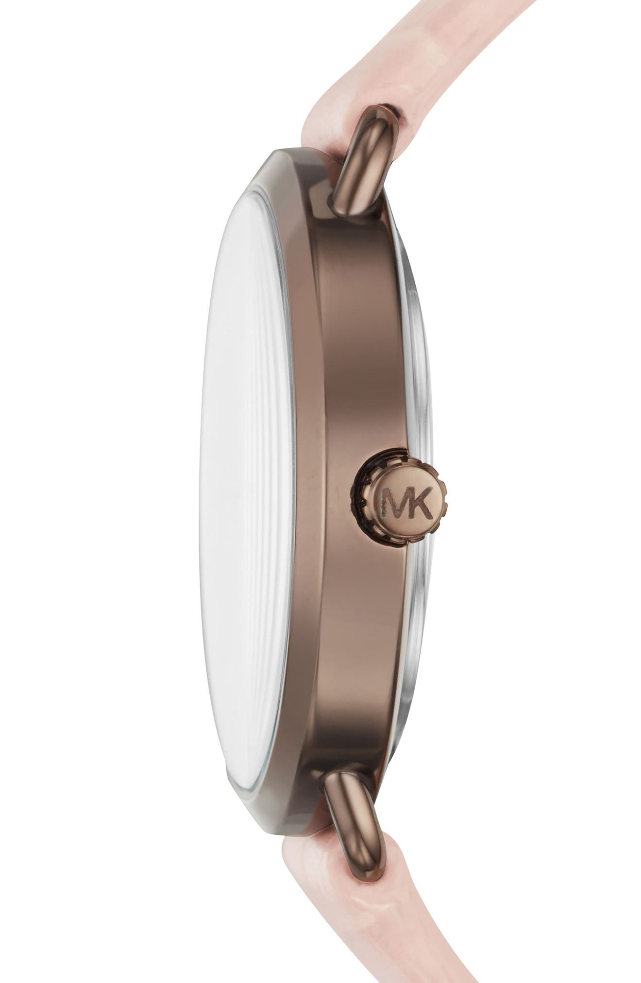 Portia Crystal Leather Strap Watch, 37mm,                             Alternate thumbnail 2, color,                             Pink/ Rose Gold/ Brown