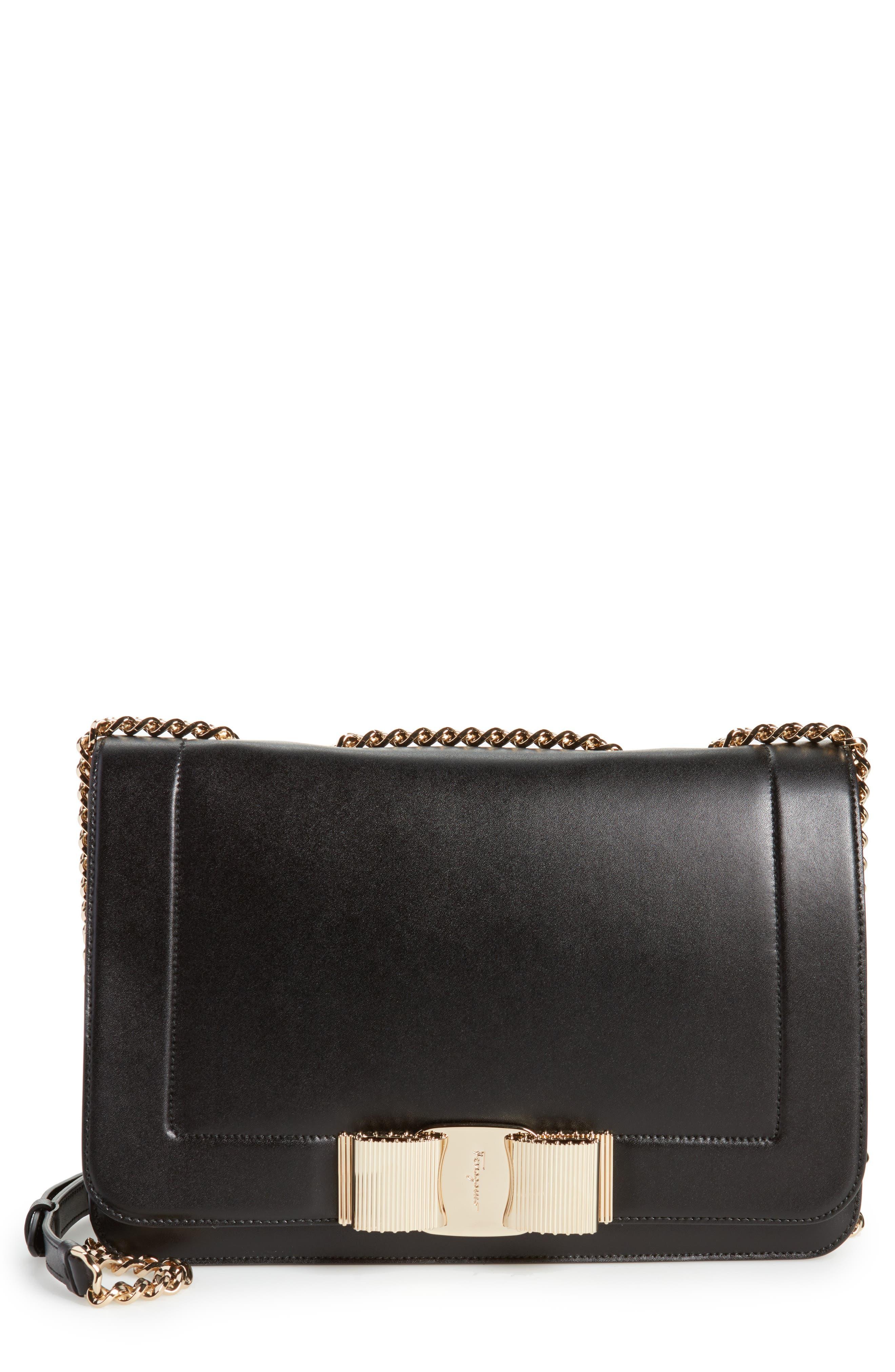 Vara Leather Shoulder Bag,                         Main,                         color, Nero/ Bonbon