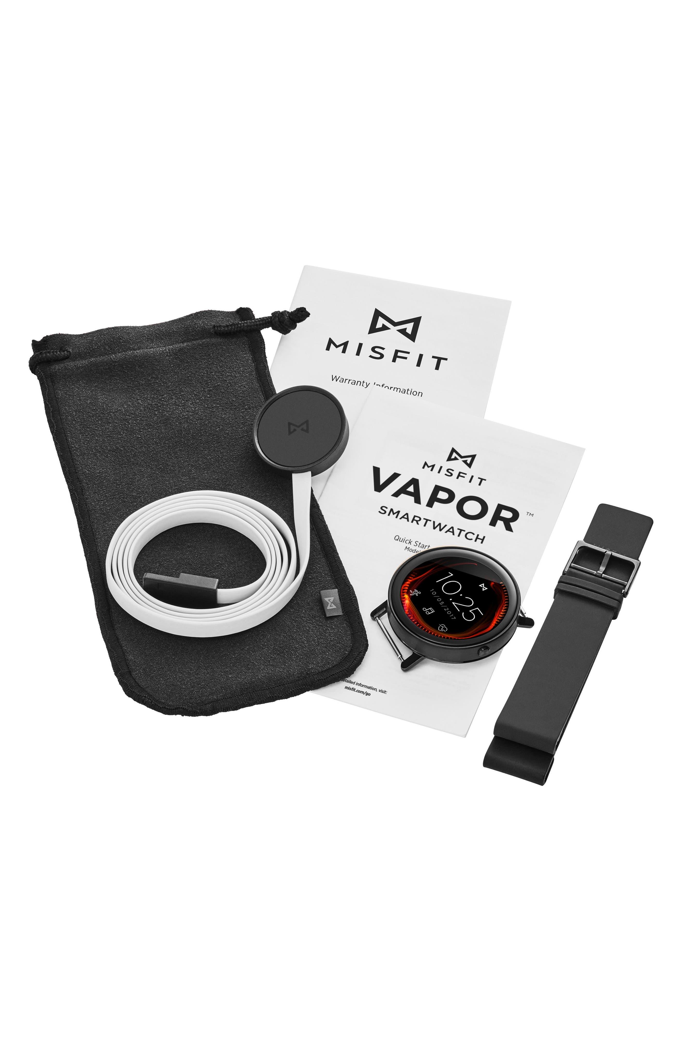 Vapor Sport Strap Smart Watch, 44mm,                             Alternate thumbnail 3, color,                             Black