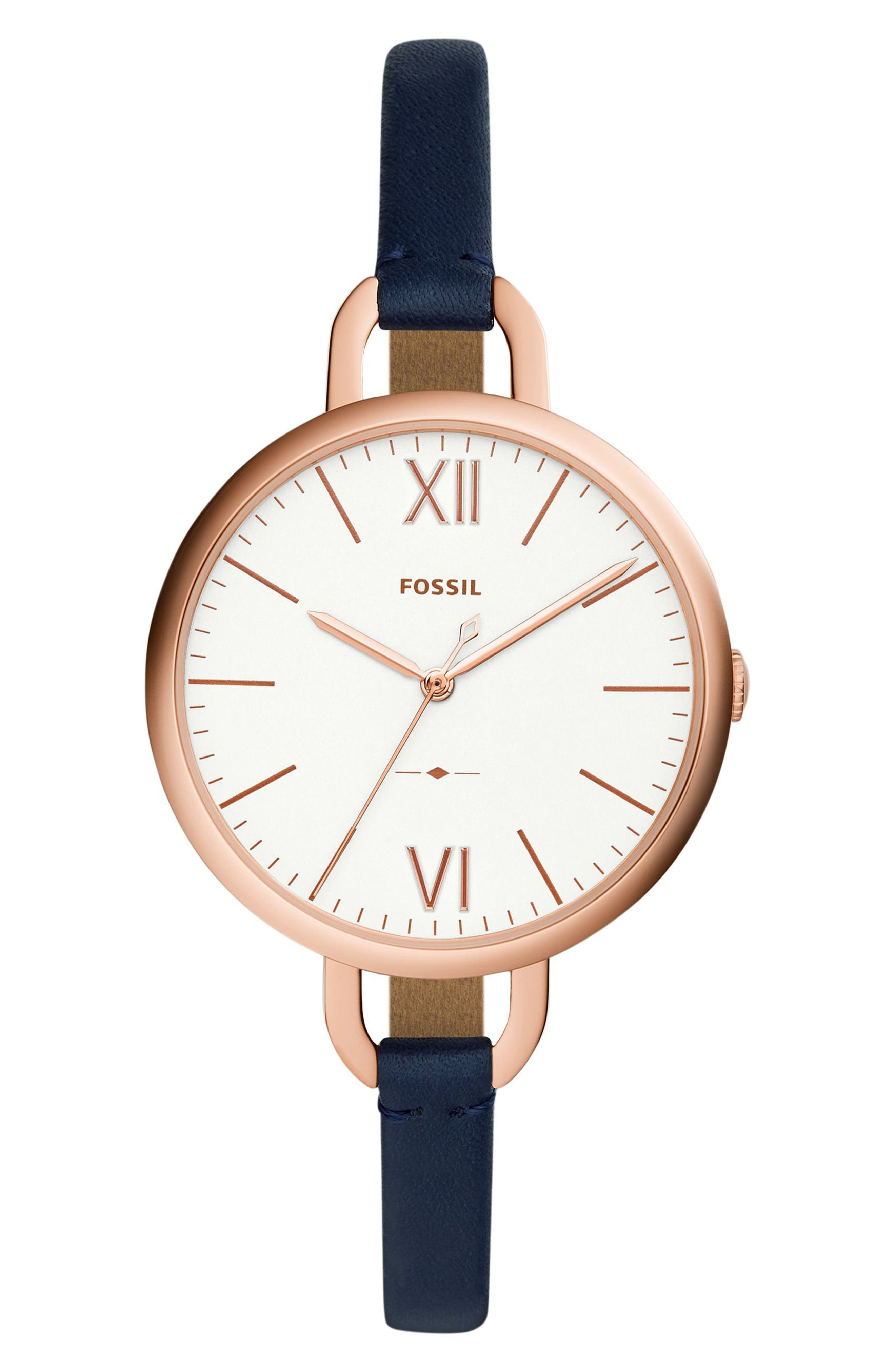 Alternate Image 1 Selected - Fossil Annette Leather Strap Watch, 36mm