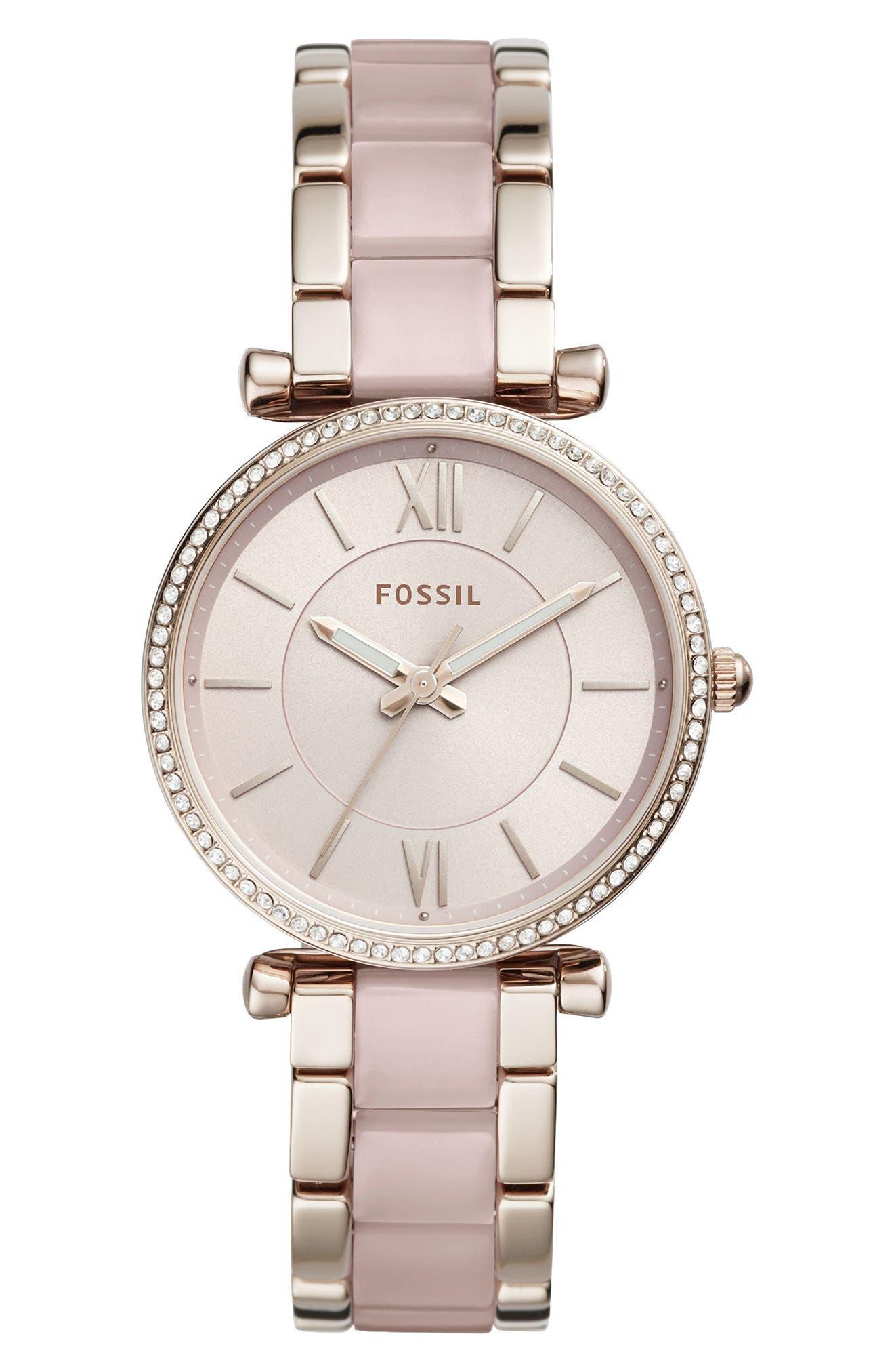 Carlie Crystal Accent T-Bar Bracelet Watch, 35mm,                         Main,                         color, Pink