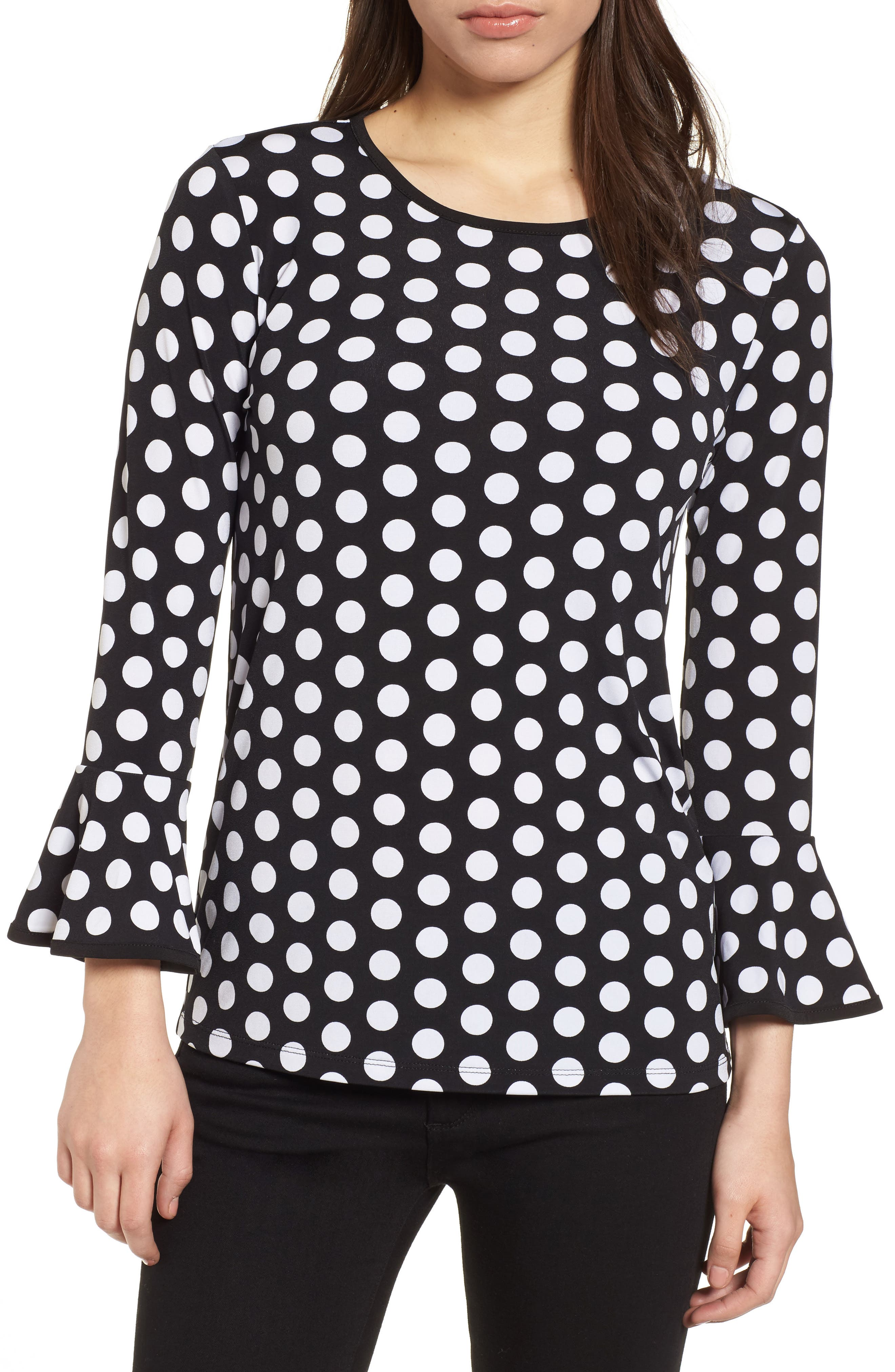 Simple Dots Flare Sleeve Top,                             Main thumbnail 1, color,                             Black/ White