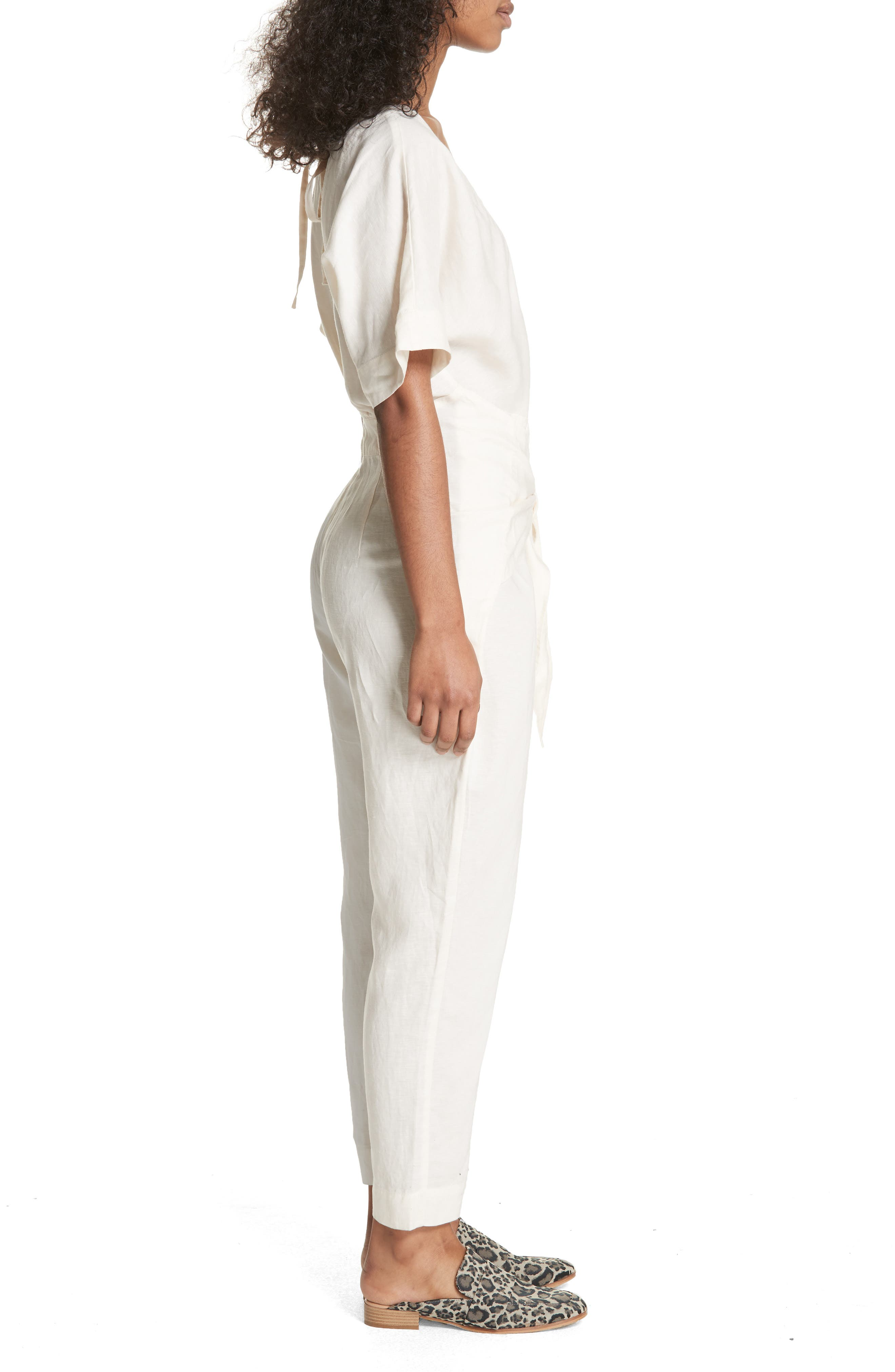 Shining Sun Tie Front Jumpsuit,                             Alternate thumbnail 3, color,                             Ivory