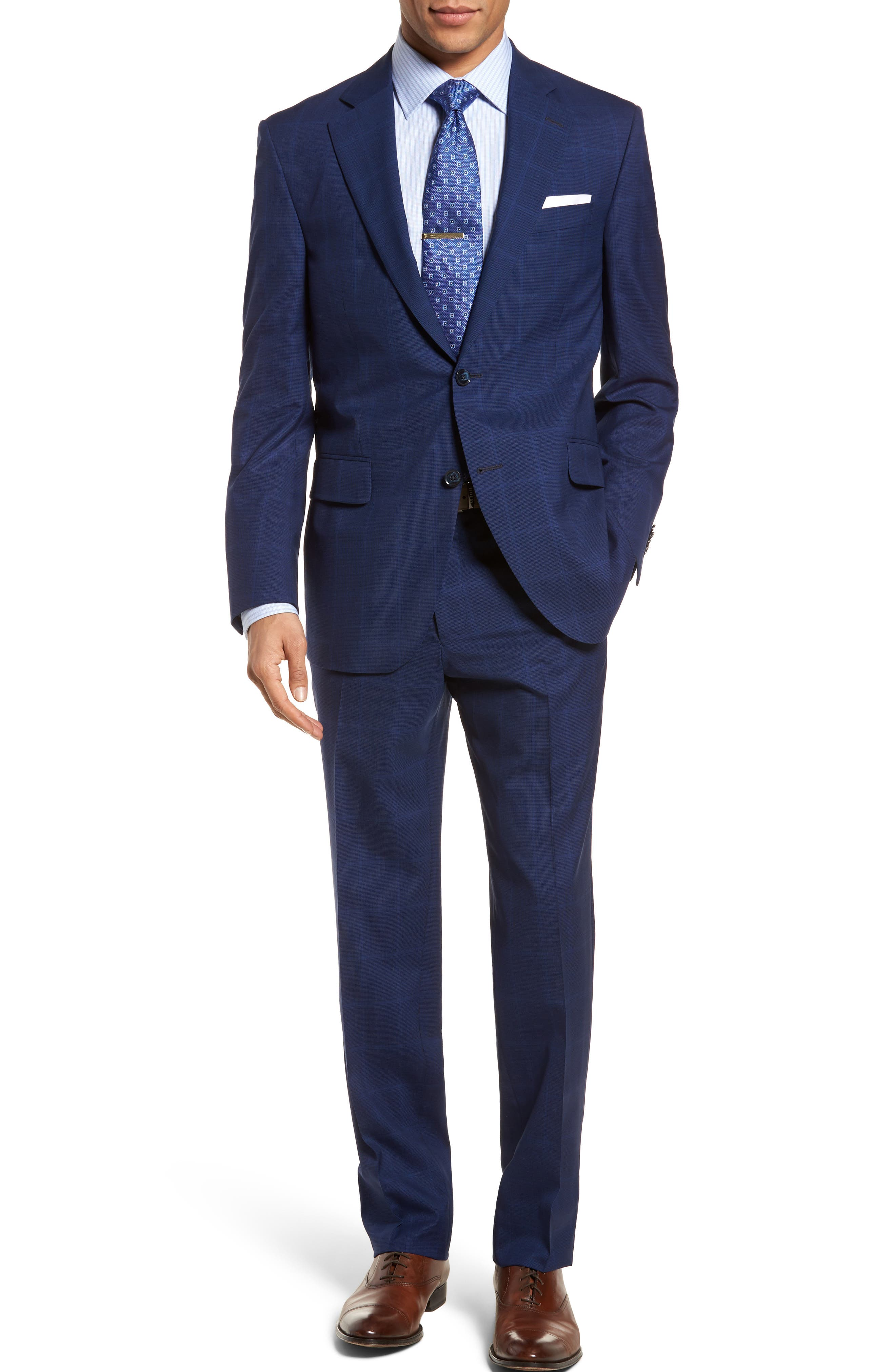 Classic Fit Windowpane Wool Suit,                         Main,                         color, Navy