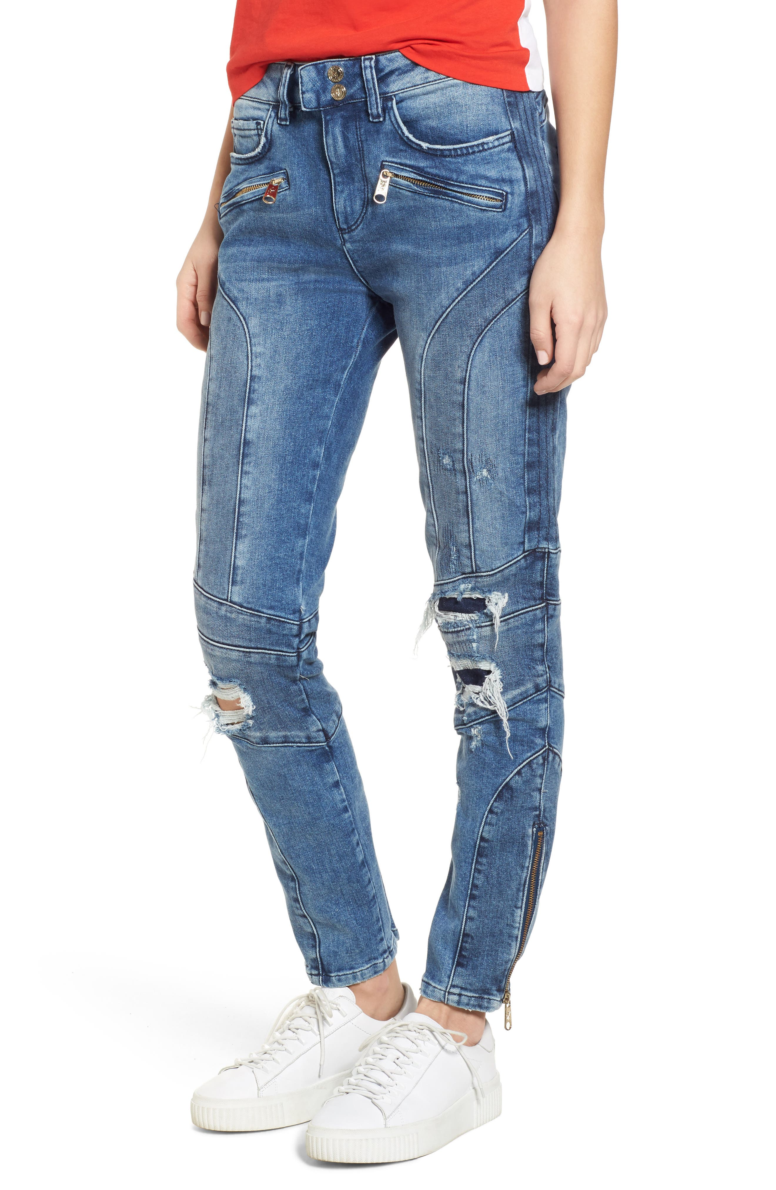 x Gigi Hadid Speed Distressed Ankle Zip Jeans,                         Main,                         color, Mid Blue