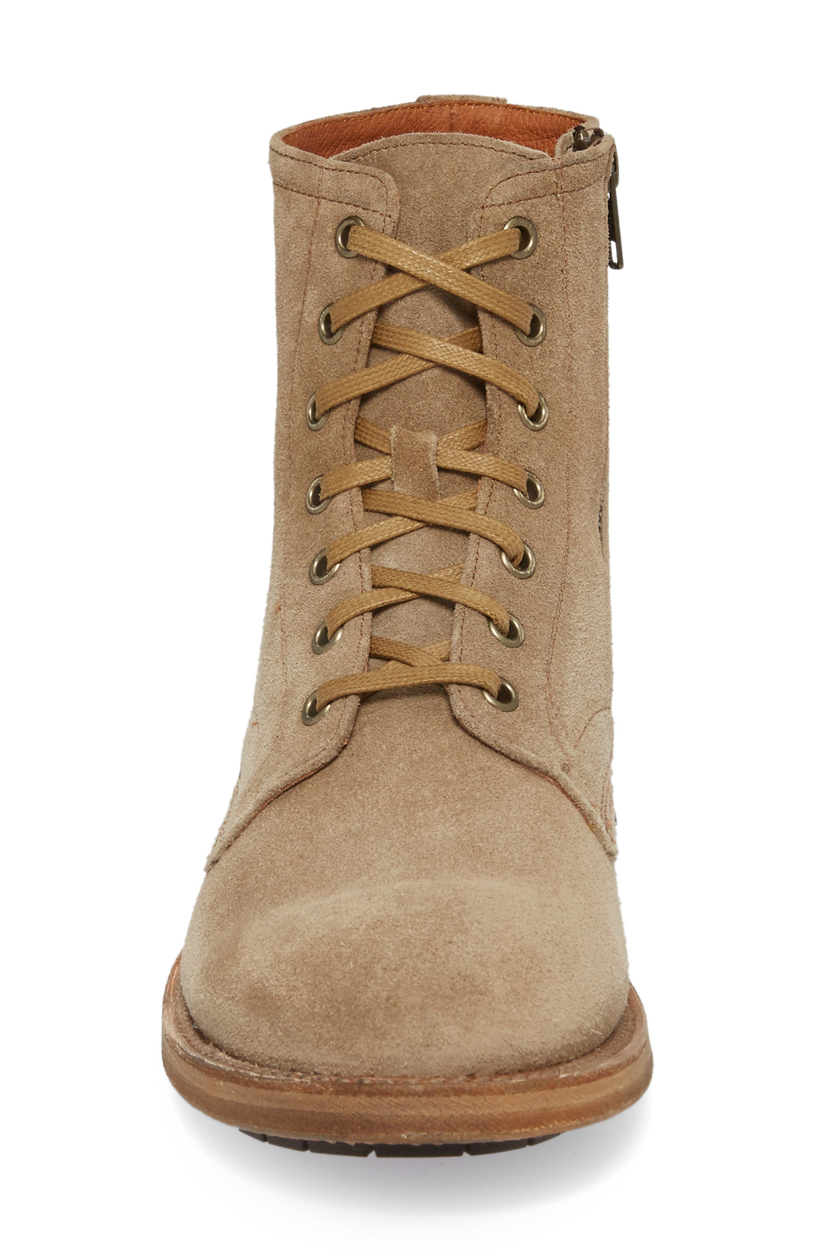 Fry Bowery Side Zip Combat Boot,                             Alternate thumbnail 4, color,                             Ash Suede
