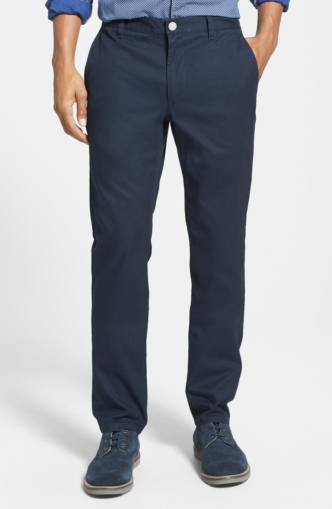 Tailored Fit Washed Chinos,                         Main,                         color, Jet Blues