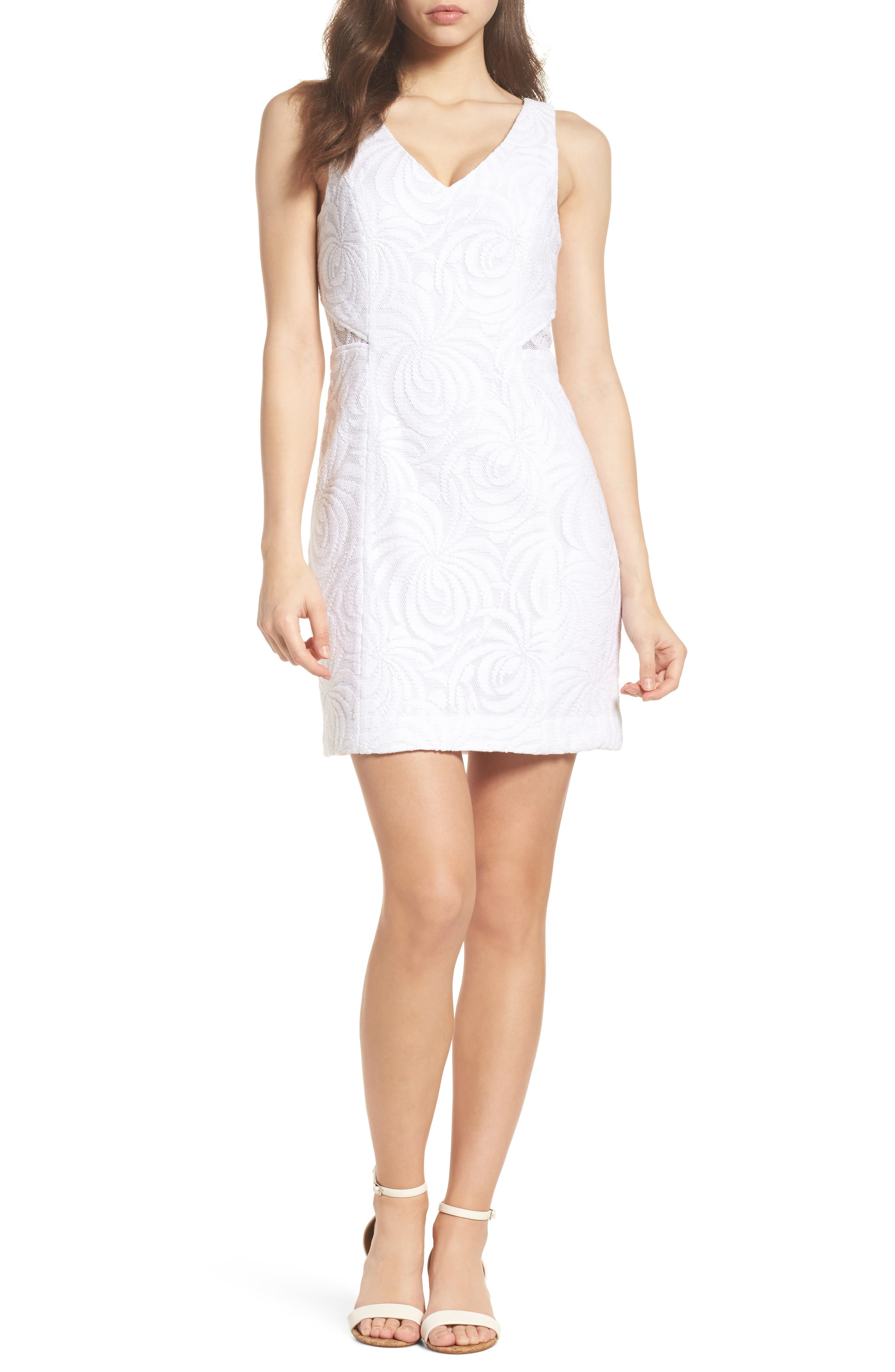 Blakely Lace Shift Dress,                             Main thumbnail 1, color,                             Resort White Sea Swirling Lace