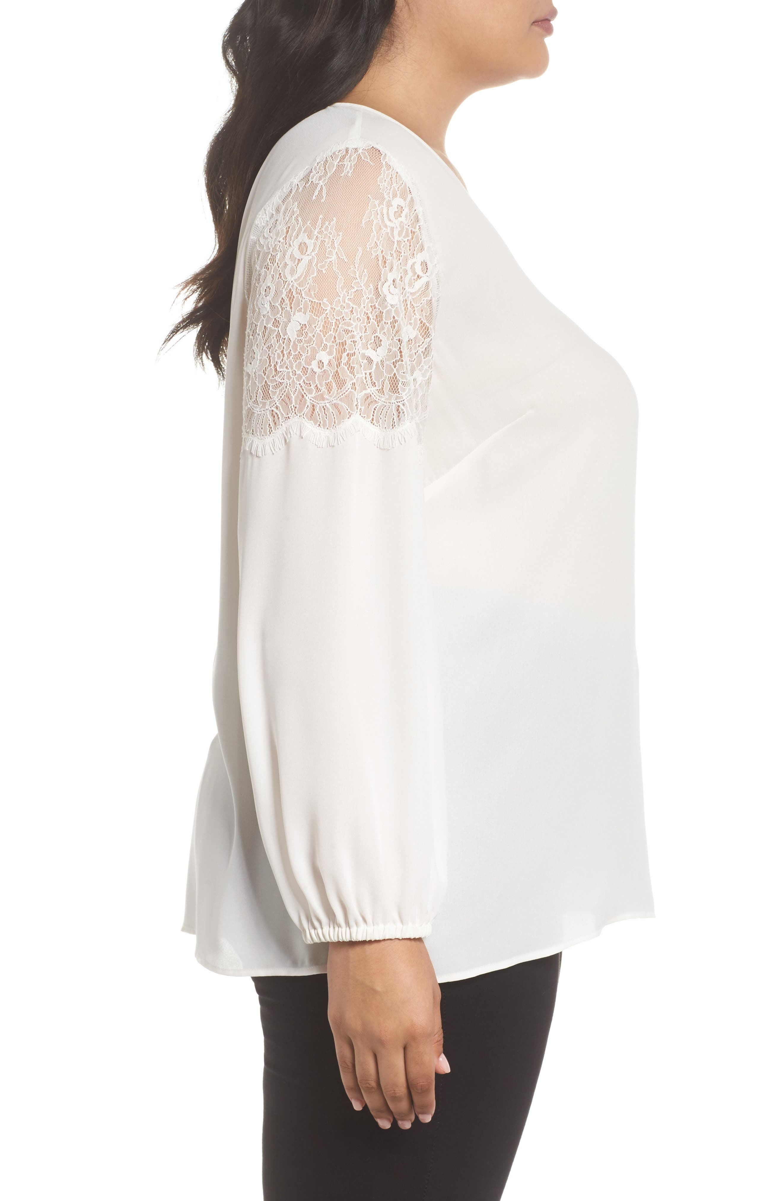 Lace Inset Sleeve Top,                             Alternate thumbnail 3, color,                             Ivory Cloud