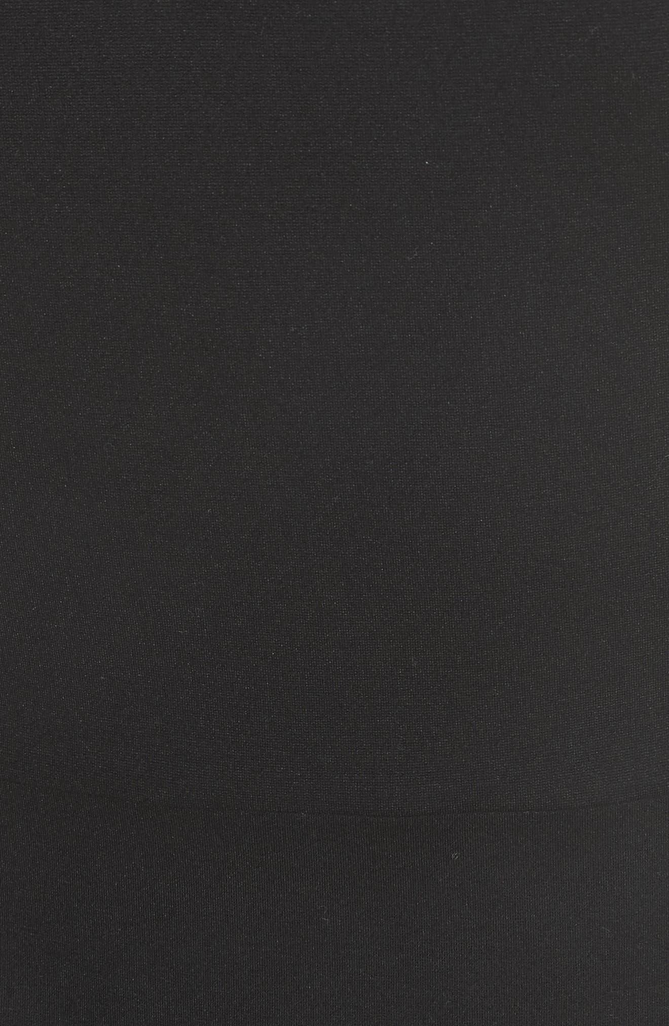 fluttter sleeve ponte knit dress,                             Alternate thumbnail 5, color,                             Black