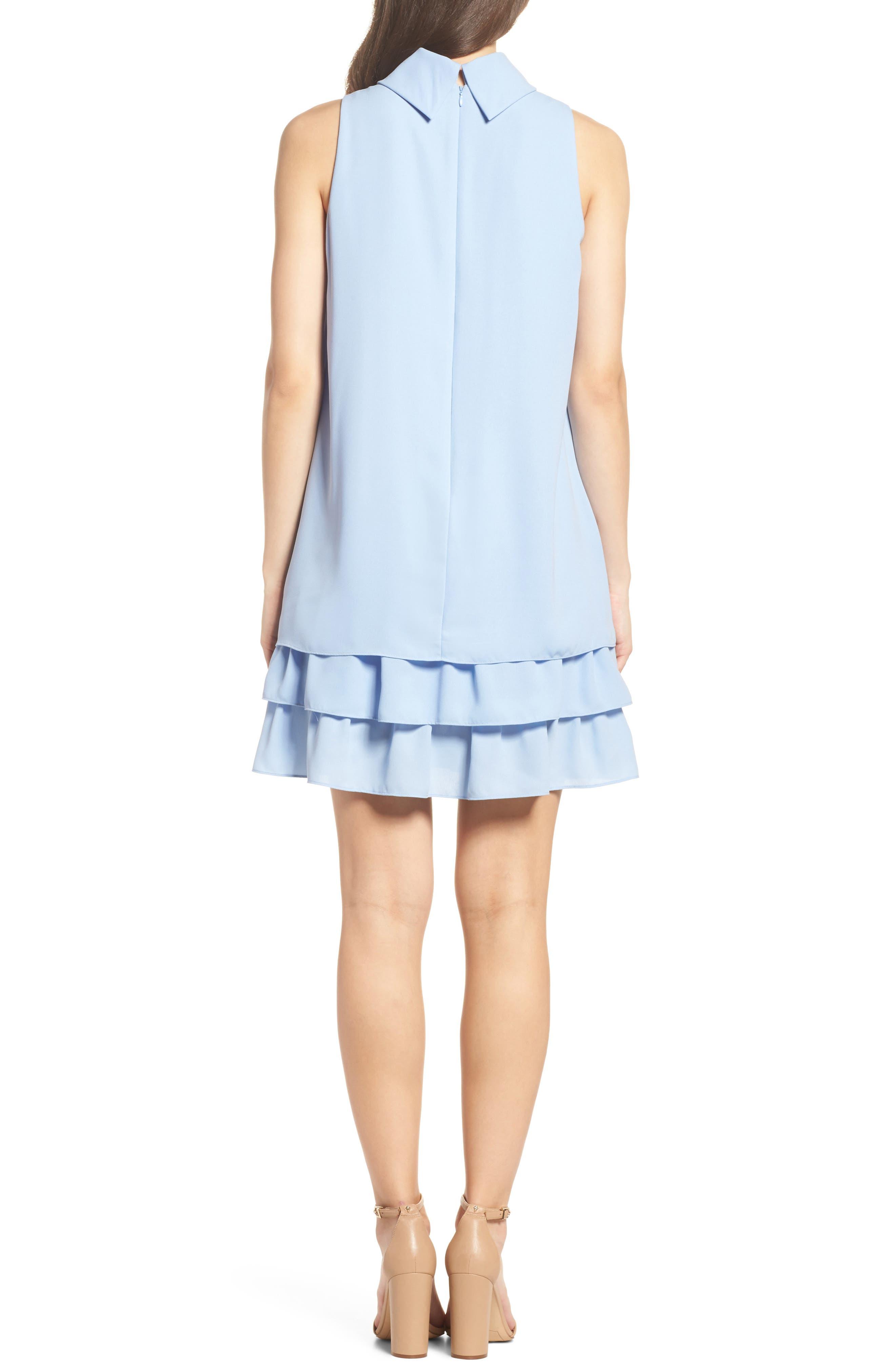 Moss Crepe Roll Neck Ruffle Dress,                             Alternate thumbnail 2, color,                             Light Blue