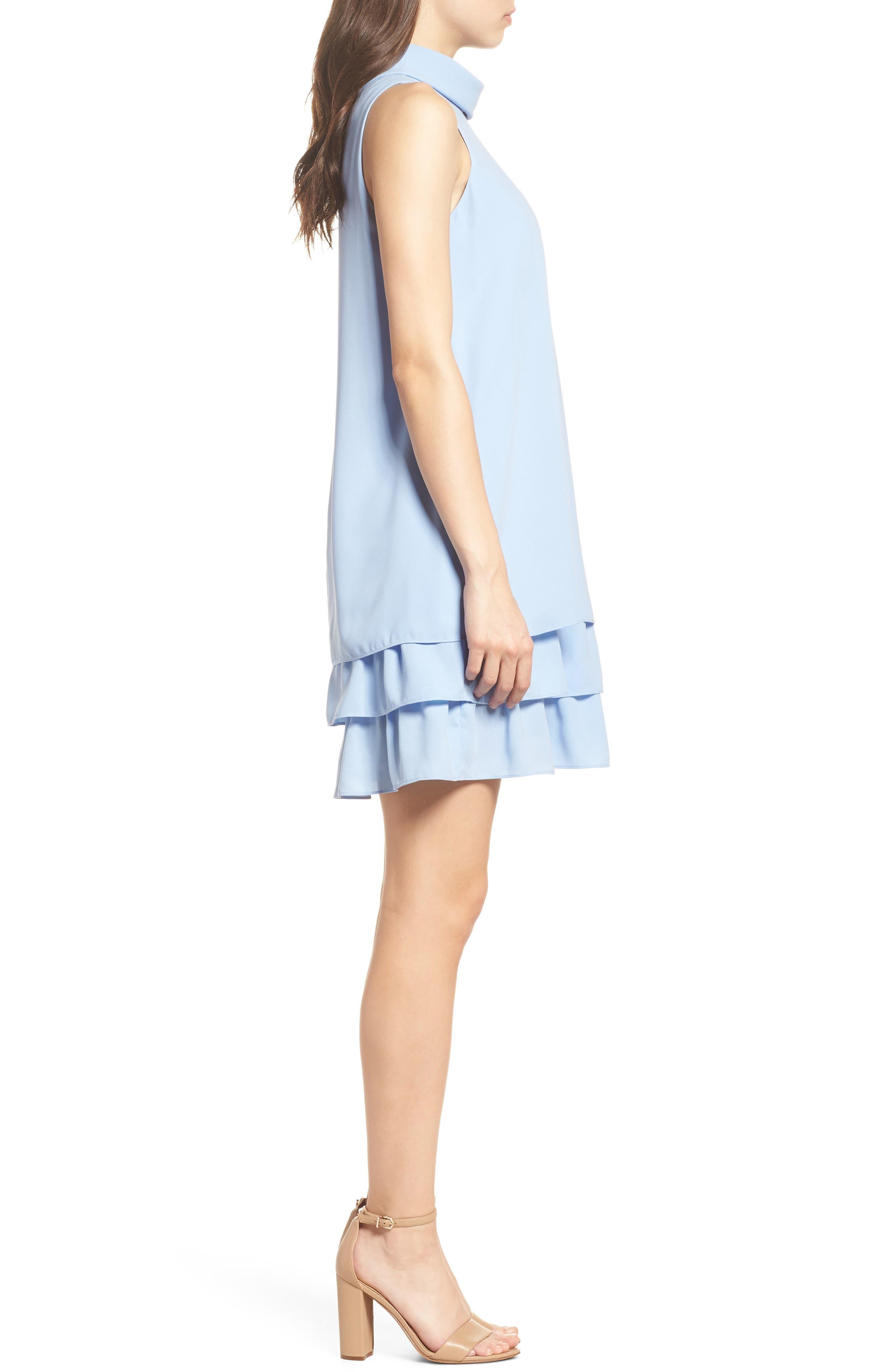 Moss Crepe Roll Neck Ruffle Dress,                             Alternate thumbnail 3, color,                             Light Blue