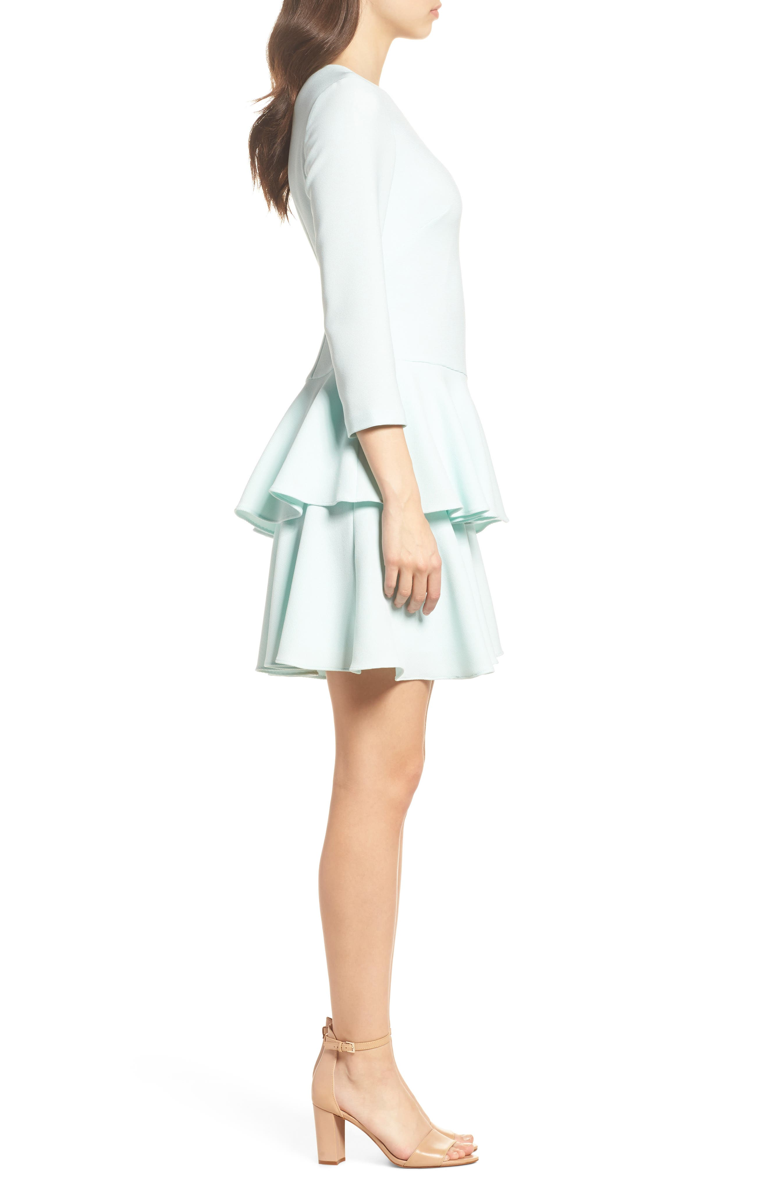 Tiered Ruffle Dress,                             Alternate thumbnail 3, color,                             Mint