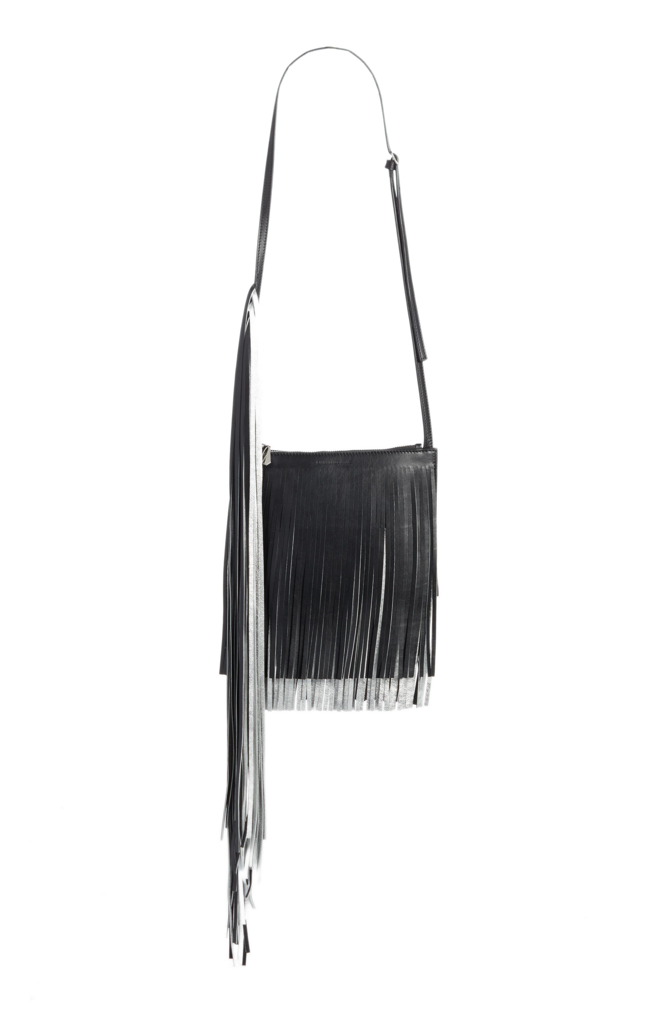 x Layered Fringe Leather Crossbody Bag,                             Main thumbnail 1, color,                             Black