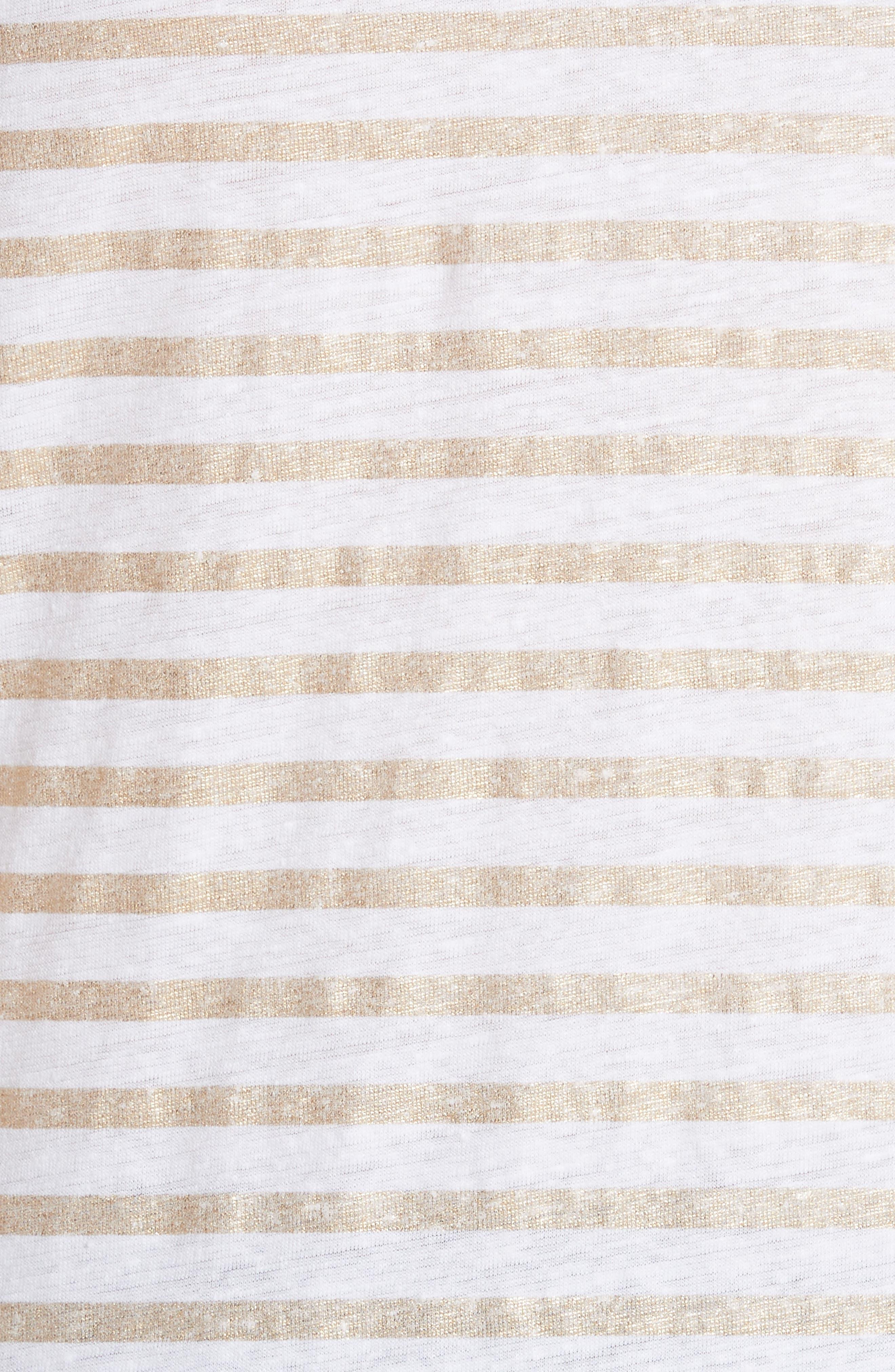 Linen Stretch Stripe Top,                             Alternate thumbnail 5, color,                             Blanc/ Gold Metal Stripe